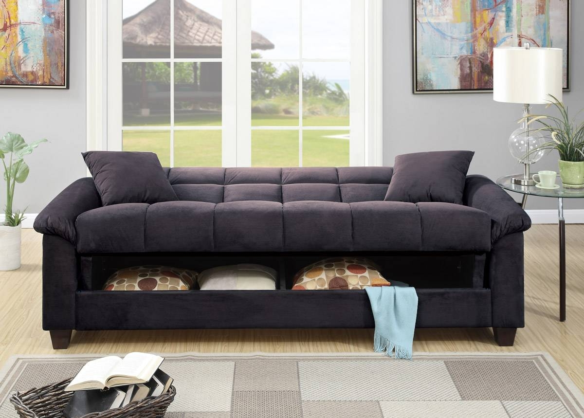 Ebony Microfiber Sofa Bed Futon - Caravana Furniture regarding Microsuede Sofa Beds (Image 4 of 15)