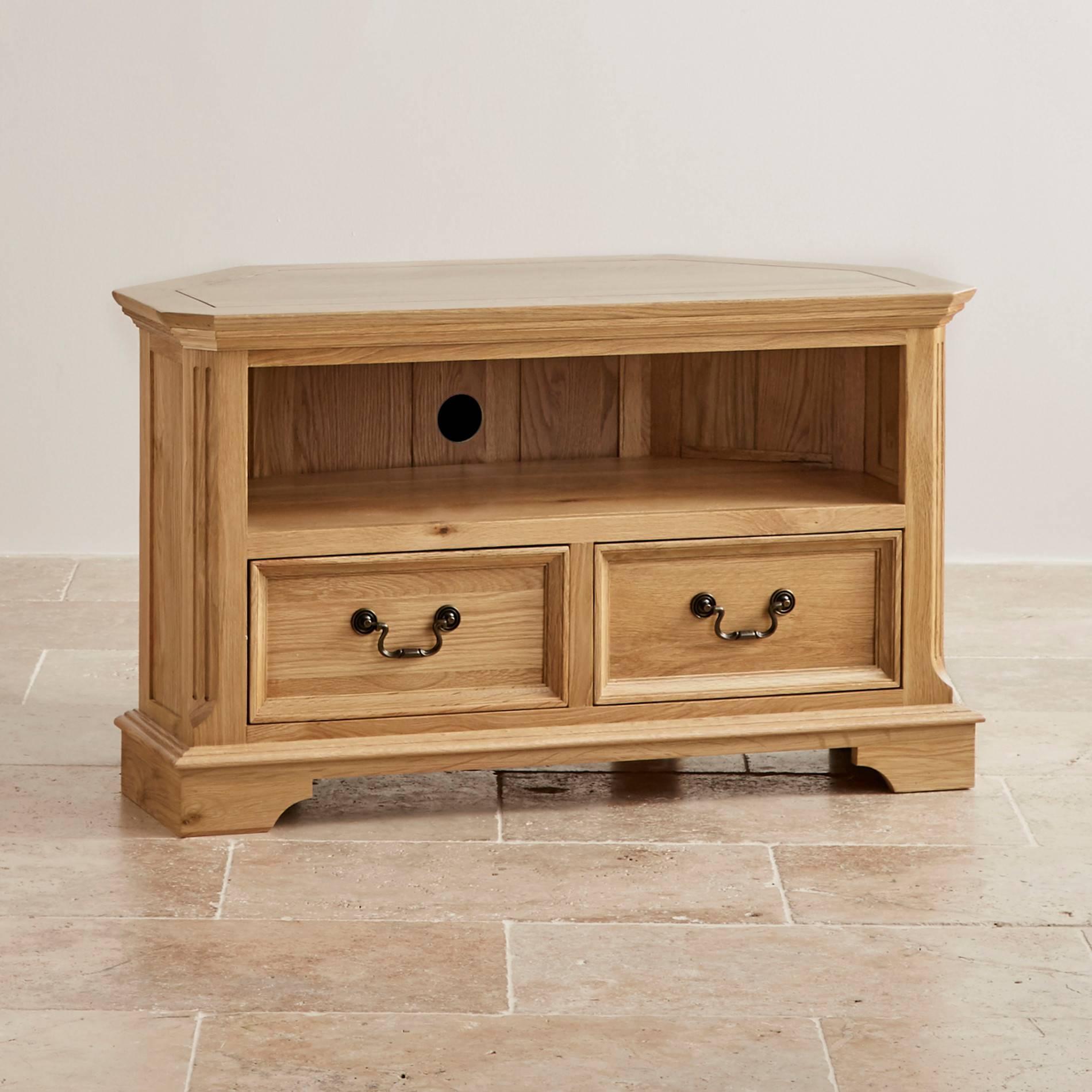 Edinburgh Corner Tv Cabinet In Solid Oak | Oak Furniture Land with regard to Solid Oak Corner Tv Cabinets (Image 6 of 15)