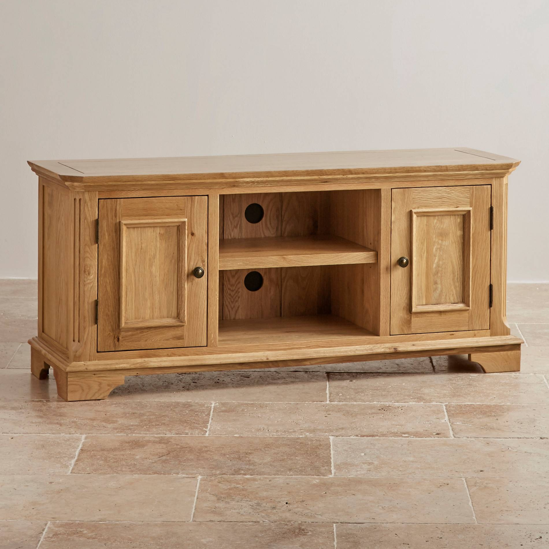 Edinburgh Tv Cabinet In Natural Solid Oak | Oak Furniture Land intended for Tv Cabinets (Image 4 of 15)