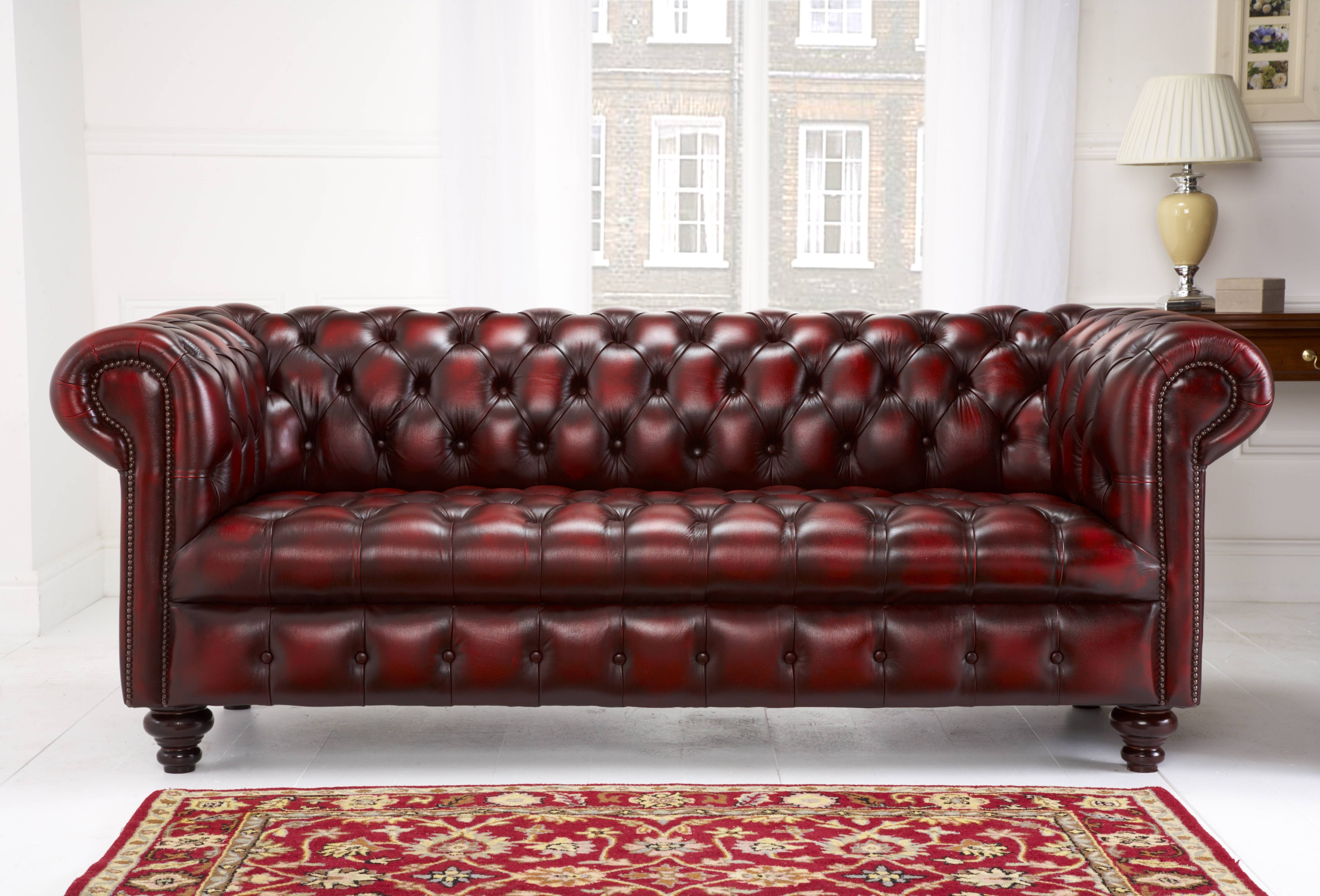 Edwardian Chesterfield - English Chesterfields with Red Leather Chesterfield Chairs (Image 8 of 15)