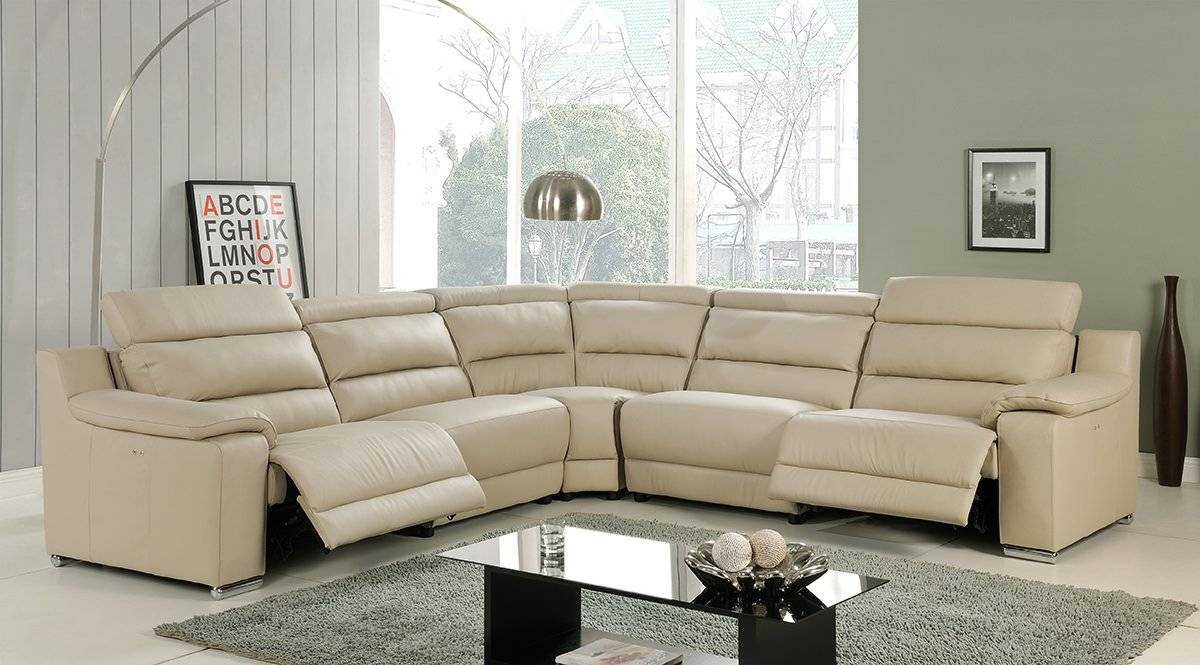 Elda Beige Italian Leather Sectional Sofaat Home throughout Beige Leather Couches (Image 4 of 15)