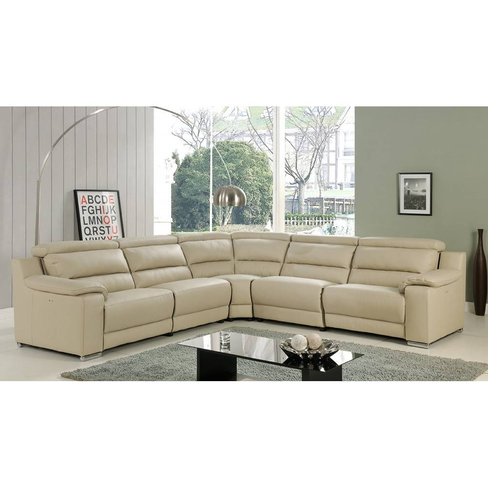Elda Italian Leather Reclining Sectional Sofa | Beige, At Home Usa intended for Beige Leather Couches (Image 5 of 15)