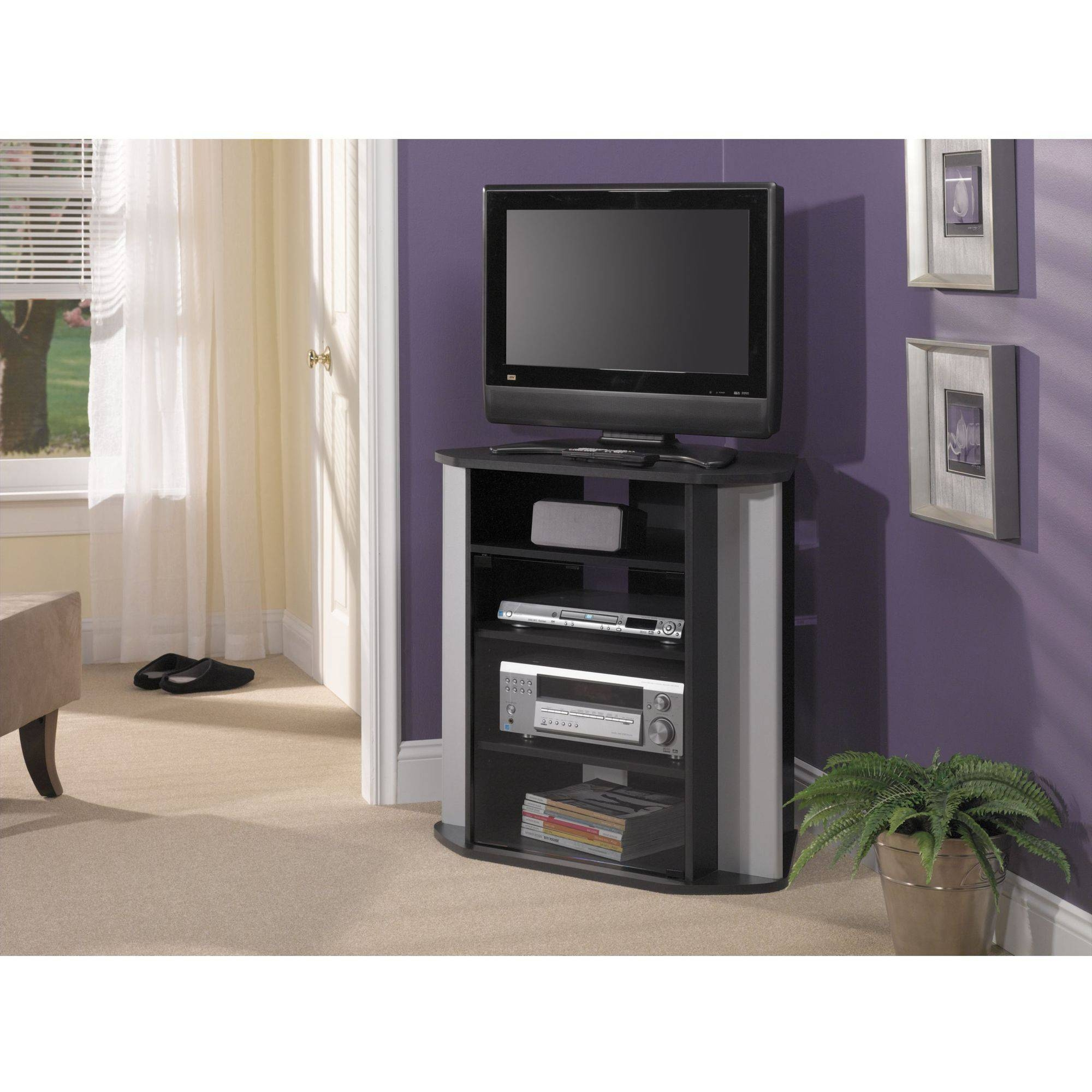 Elegant Black-Gray Laminated Particle Wood Tall Corner Tv Stand in Black Wood Corner Tv Stands (Image 5 of 15)