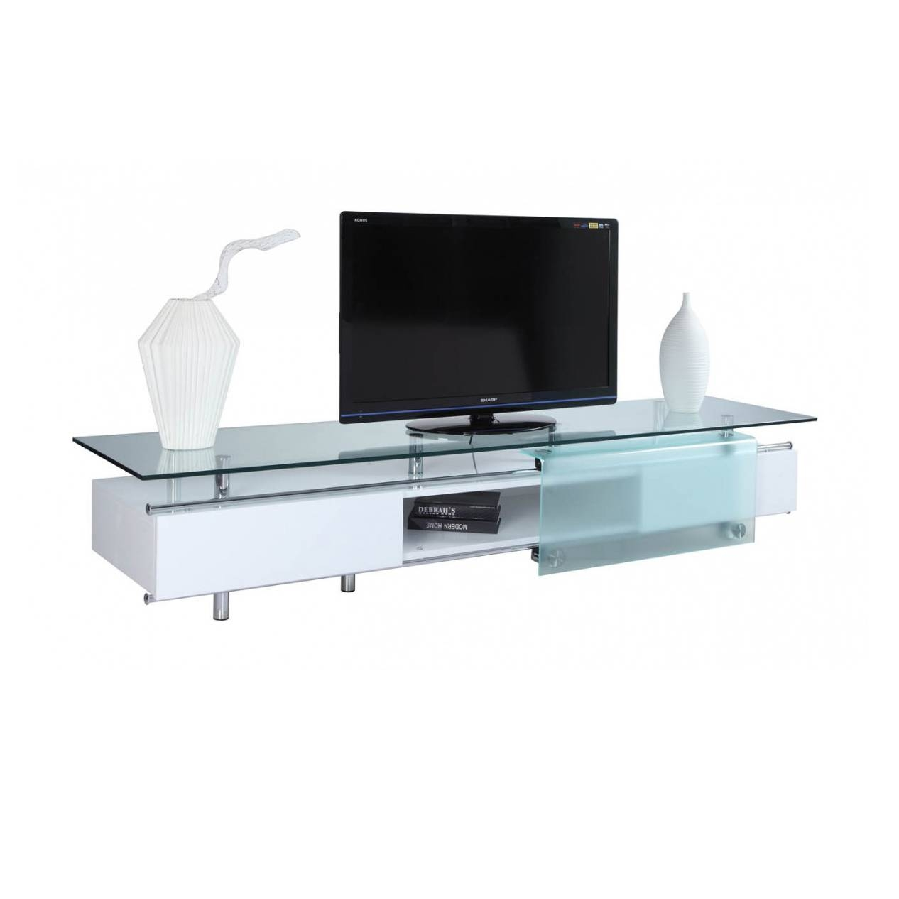 Ema High Gloss White Tv Stand, White Line Imports - Modern Manhattan with Modern Glass Tv Stands (Image 4 of 15)
