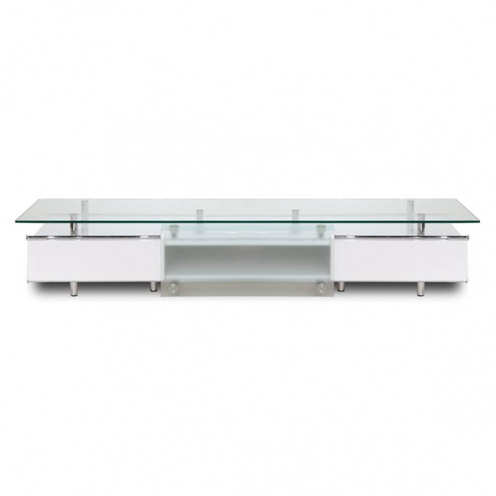 Ema High Gloss White Tv Stand, White Line Imports - Modern Manhattan with regard to Long White Tv Stands (Image 8 of 15)