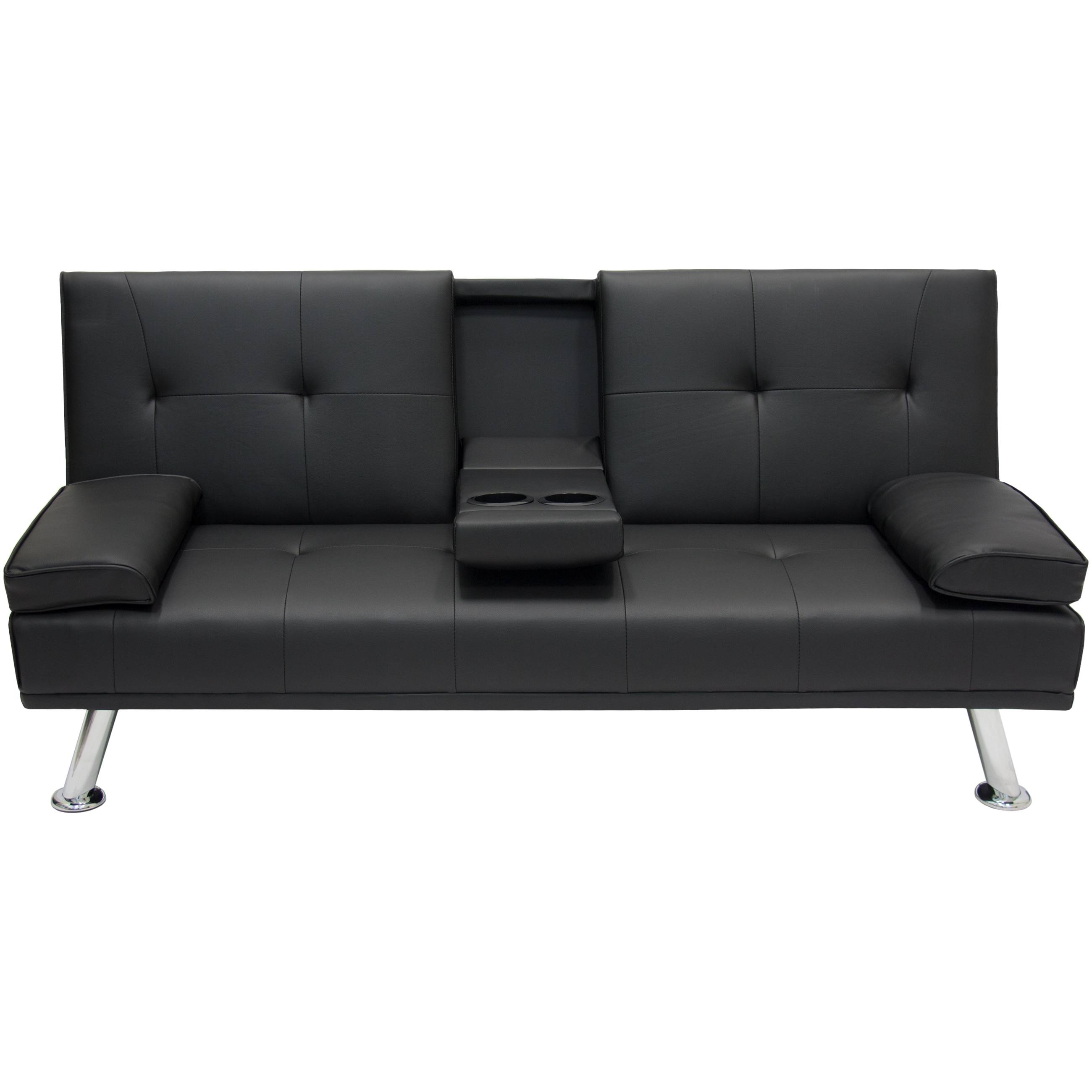 Entertainment Furniture Futon Sofa Bed Fold Up Down Recliner Couch intended for Small Black Futon Sofa Beds (Image 5 of 15)