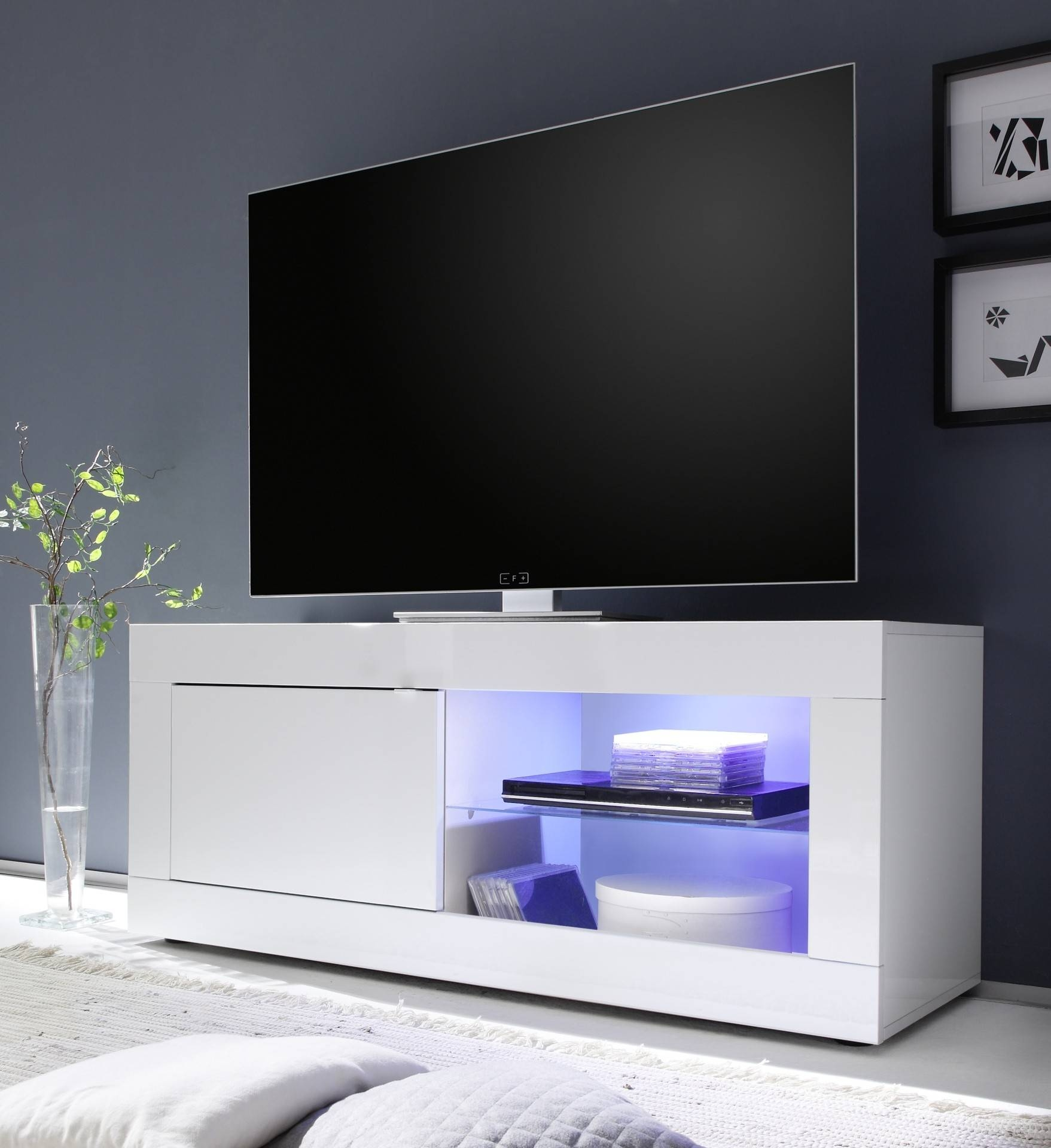 Eos - Large High Gloss Tv Unit - Tv Stands - Sena Home Furniture for White High Gloss Tv Stands (Image 6 of 15)