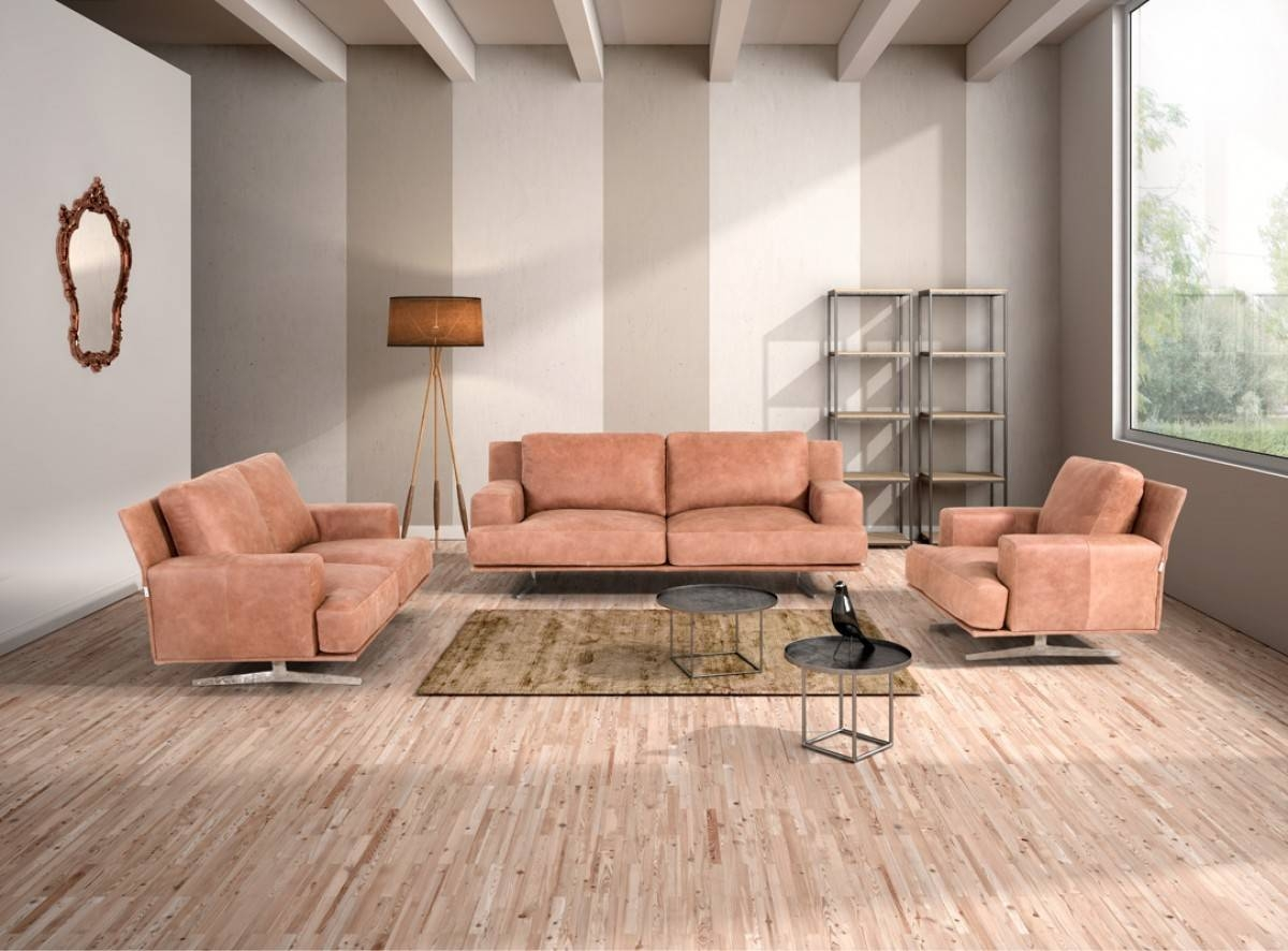 Estro Salotti Foster Modern Cognac Italian Leather Sofa Set with regard to Foster Leather Sofas (Image 11 of 15)