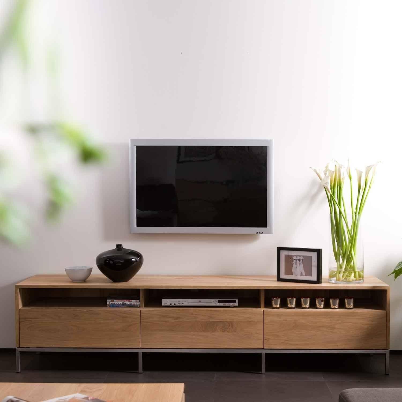 Ethnicraft Ligna Oak Tv Units | Solid Wood Furniture Inside Low Tv Units (View 6 of 15)