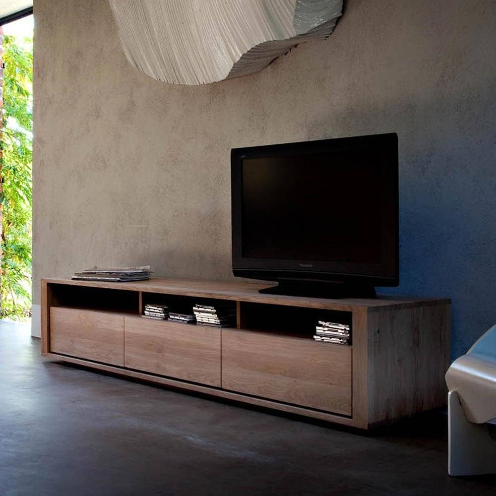 Ethnicraft Shadow Oak Tv Unit | Solid Wood Furniture in Contemporary Oak Tv Cabinets (Image 8 of 15)