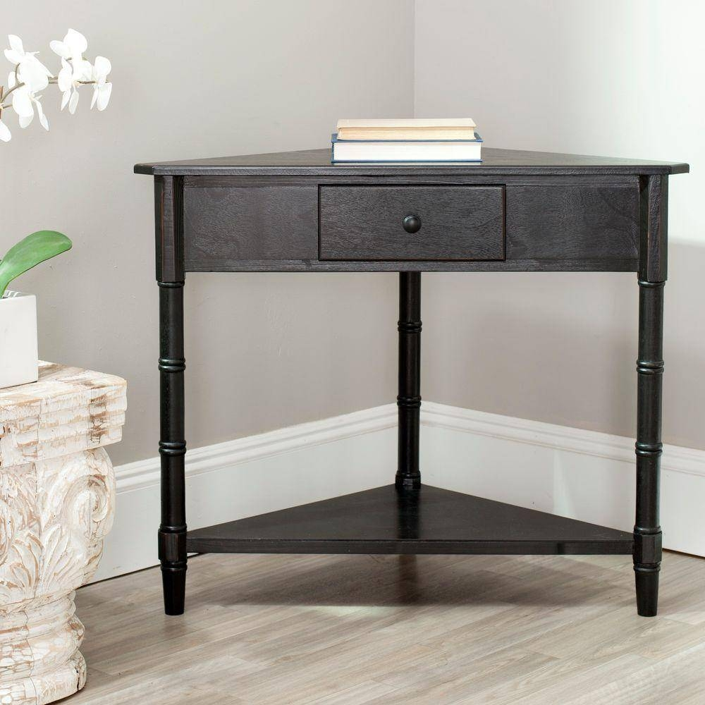 Evans Black And Gold Storage Console Table Tn 892424 – The Home Depot Within Sofa Tables With Storages (View 6 of 15)