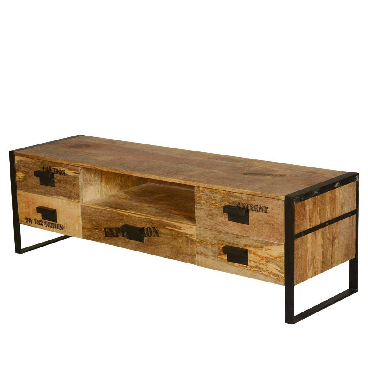 Expedition Mango Wood & Iron Tv Stand Media Cabinet with regard to Mango Wood Tv Cabinets (Image 8 of 15)