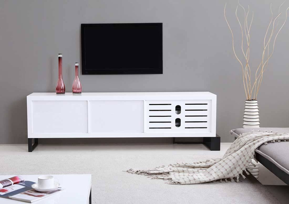 Extra Long Modern White Tv Stand Bm-36 | Tv Stands for Contemporary White Tv Stands (Image 2 of 15)
