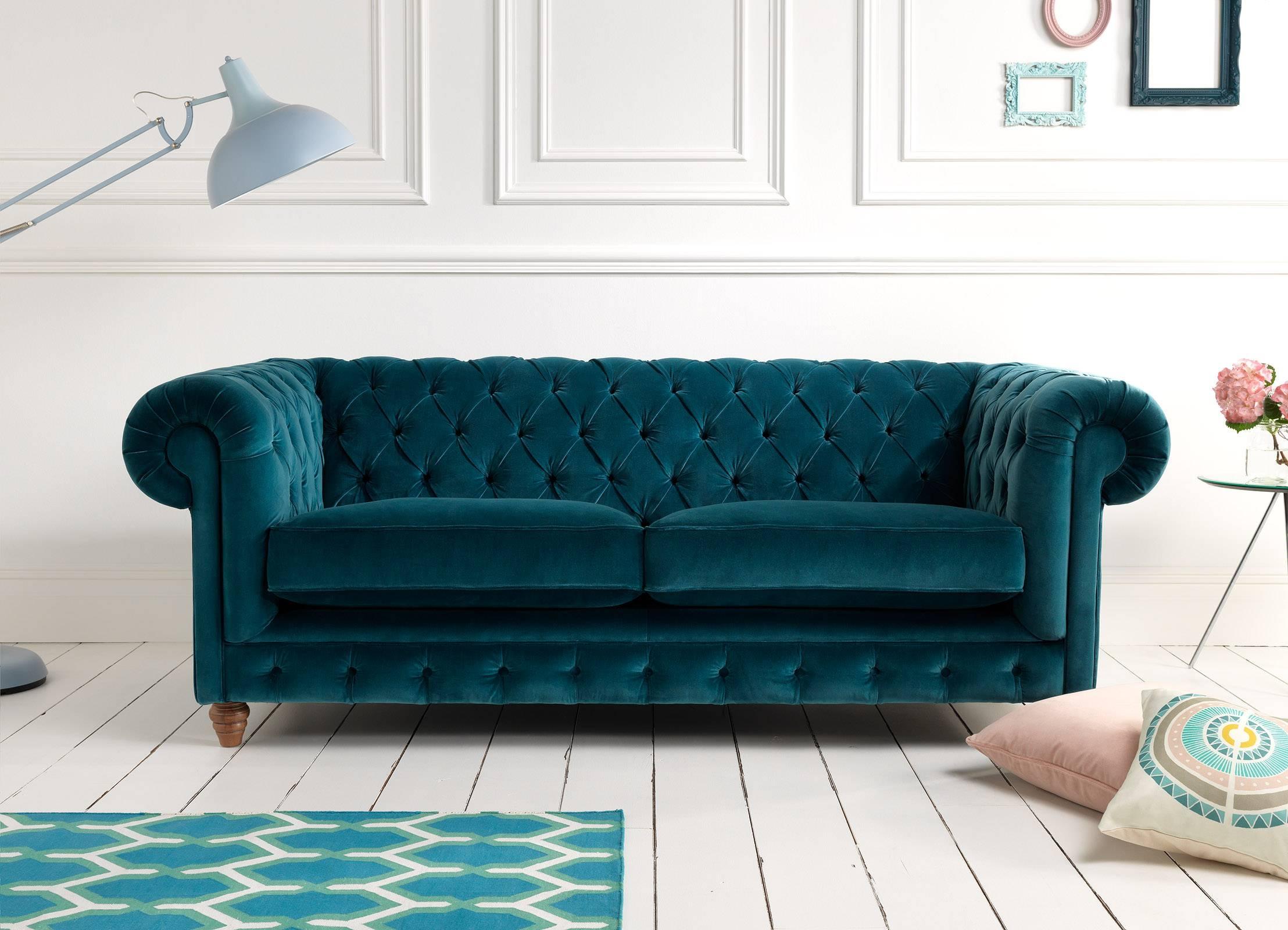 Extraordinary Velvet Sofablue Velvet Sofa Gray Velvet pertaining to Purple Chesterfield Sofas (Image 6 of 15)