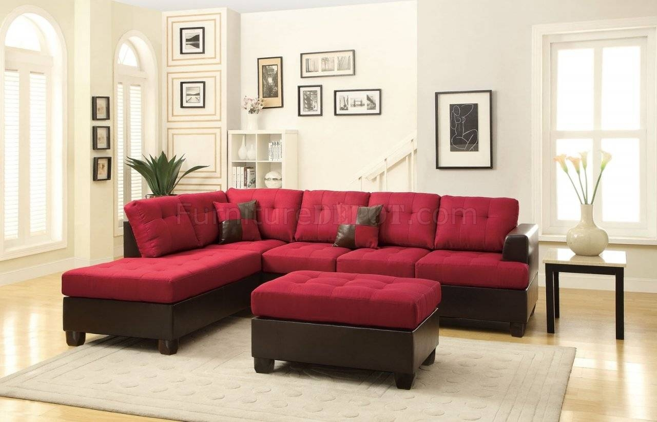 Fabric Sectionals - Microfiber Sectional Sofas, Microsuede throughout Burgundy Sectional Sofas (Image 5 of 15)