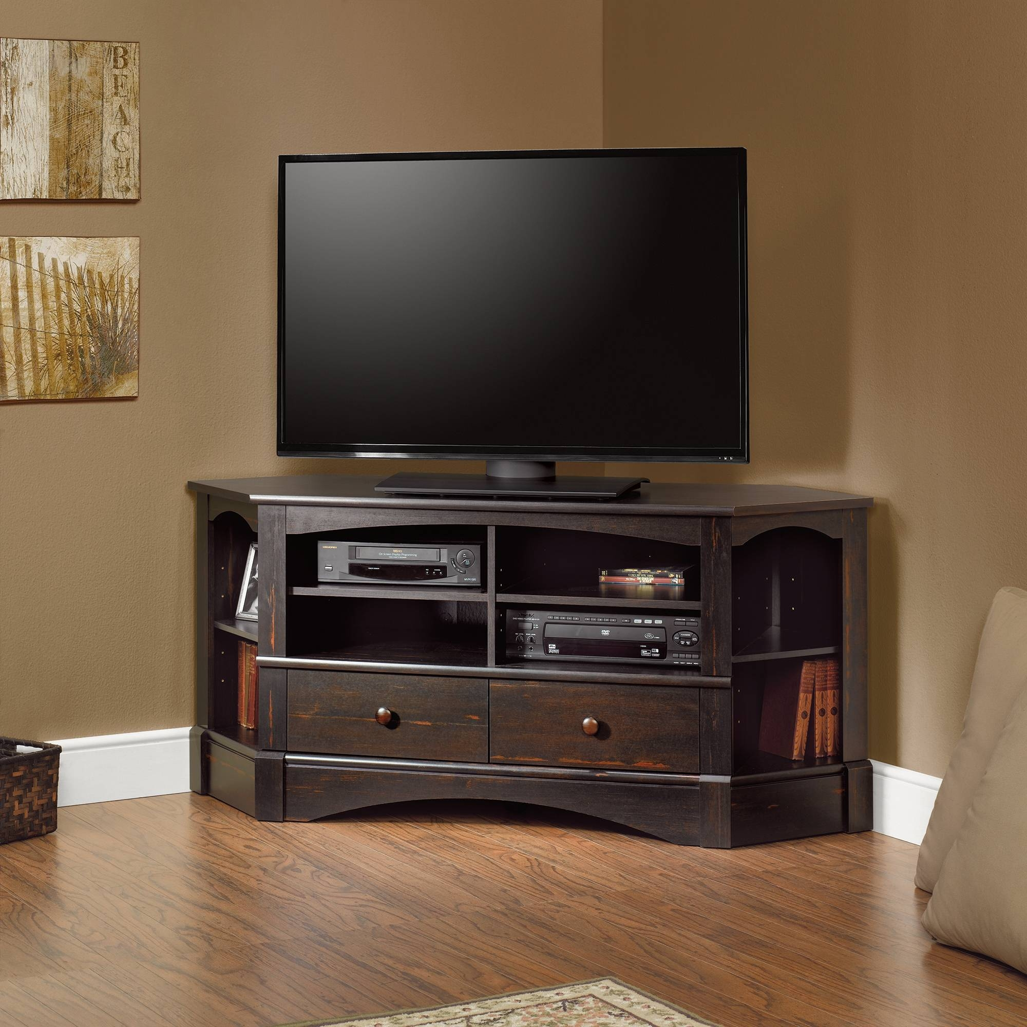Fancy Matte Varnished Dark Oak Wood Tall Corner Tv Stand For with regard to Dark Tv Stands (Image 6 of 15)