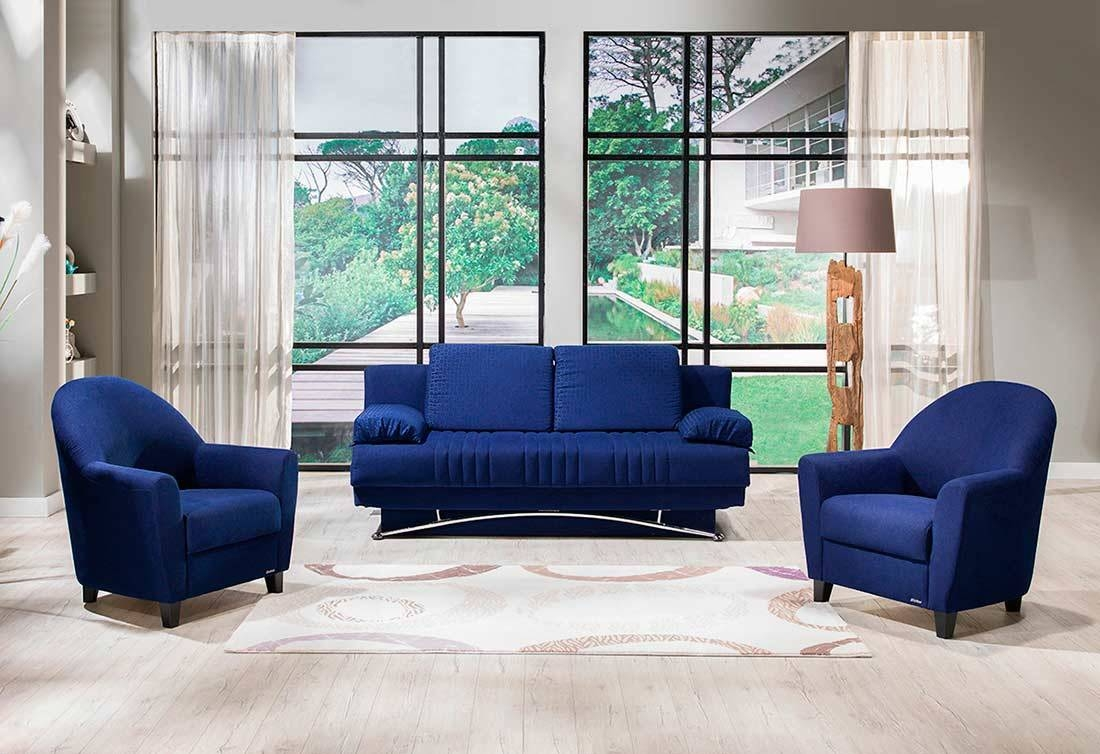 Fantazia Blue Sofa-Bed Queen Sleeper | Sofa Beds with Blue Grey Sofas (Image 6 of 15)