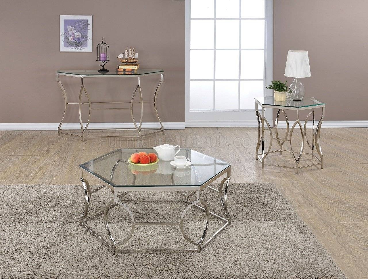 Farica 82200 3Pc Coffee Table Set In Chromeacme Pertaining To Chrome Sofa Tables (View 7 of 15)