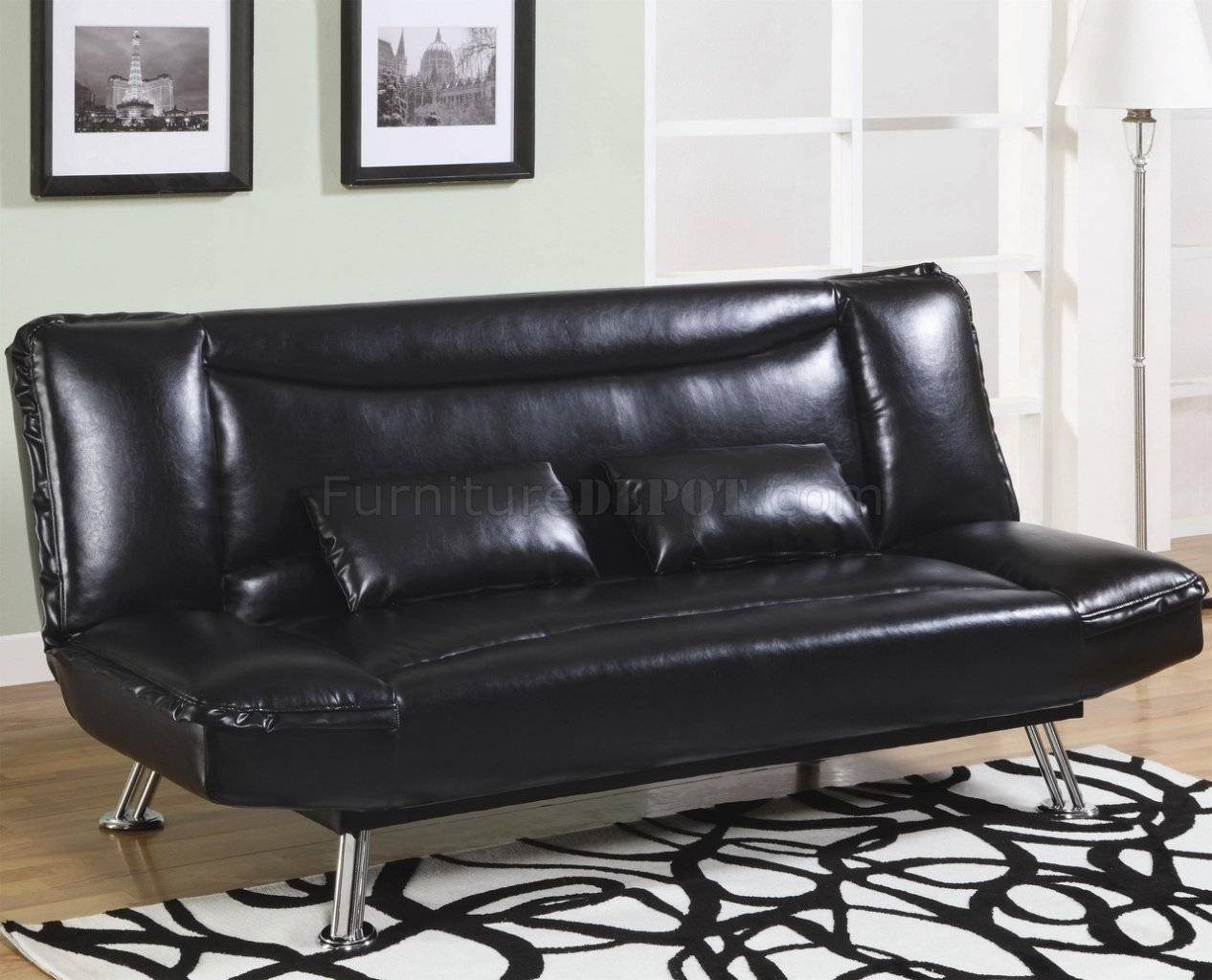 Faux Leather Modern Convertible Sofa Bed 300144 Black intended for Black Leather Convertible Sofas (Image 9 of 15)