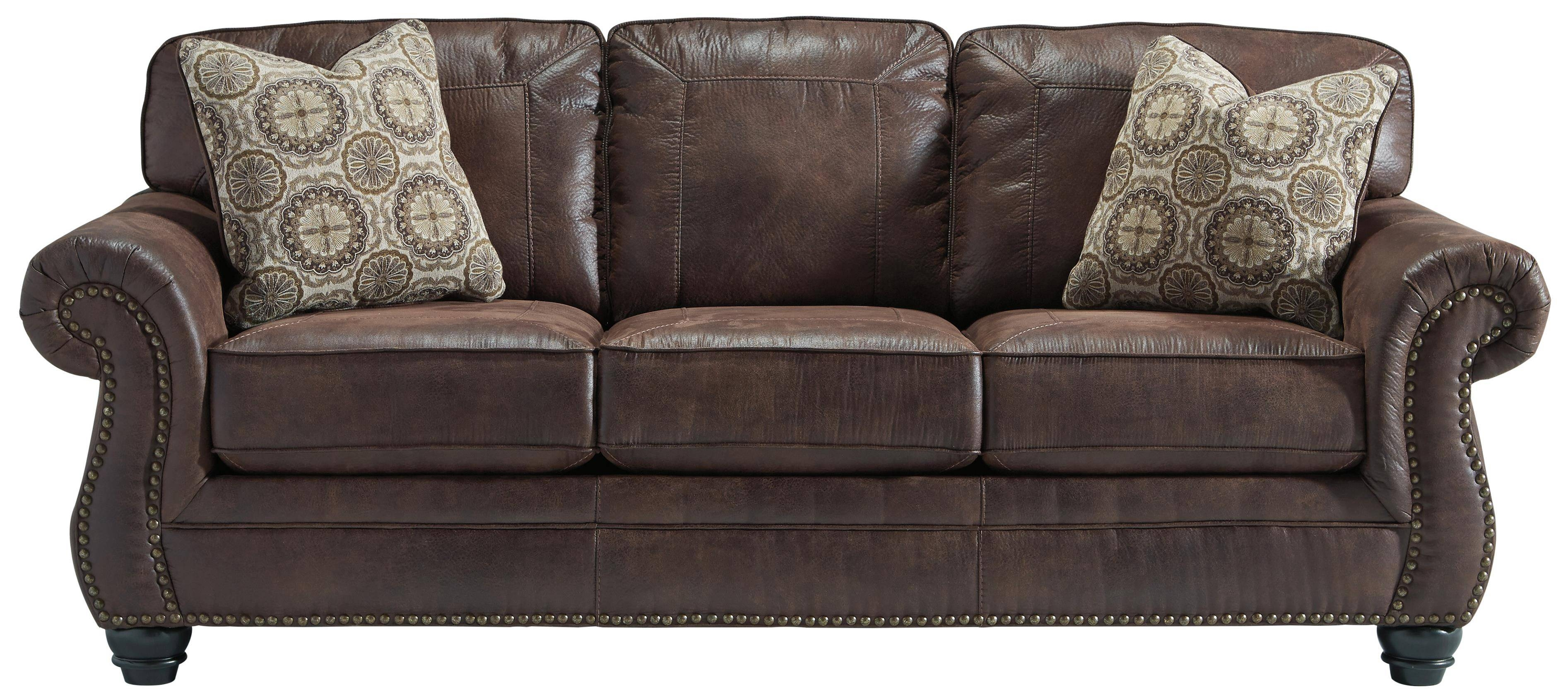 Faux Leather Sofa With Rolled Arms And Nailhead Trimbenchcraft within Benchcraft Leather Sofas (Image 14 of 15)