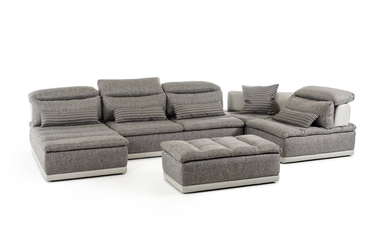 Ferrari Panorama Italian Modern Grey Fabric & Grey Leather for Italian Recliner Sofas (Image 8 of 15)
