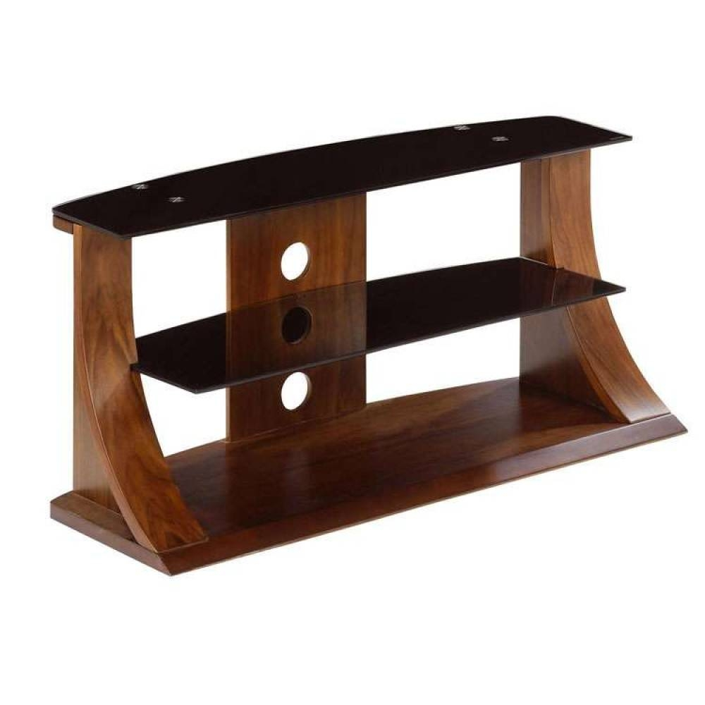 Flat Panel Plasma Tv Stands Dark Walnut Black Glass inside Curve Tv Stands (Image 6 of 15)
