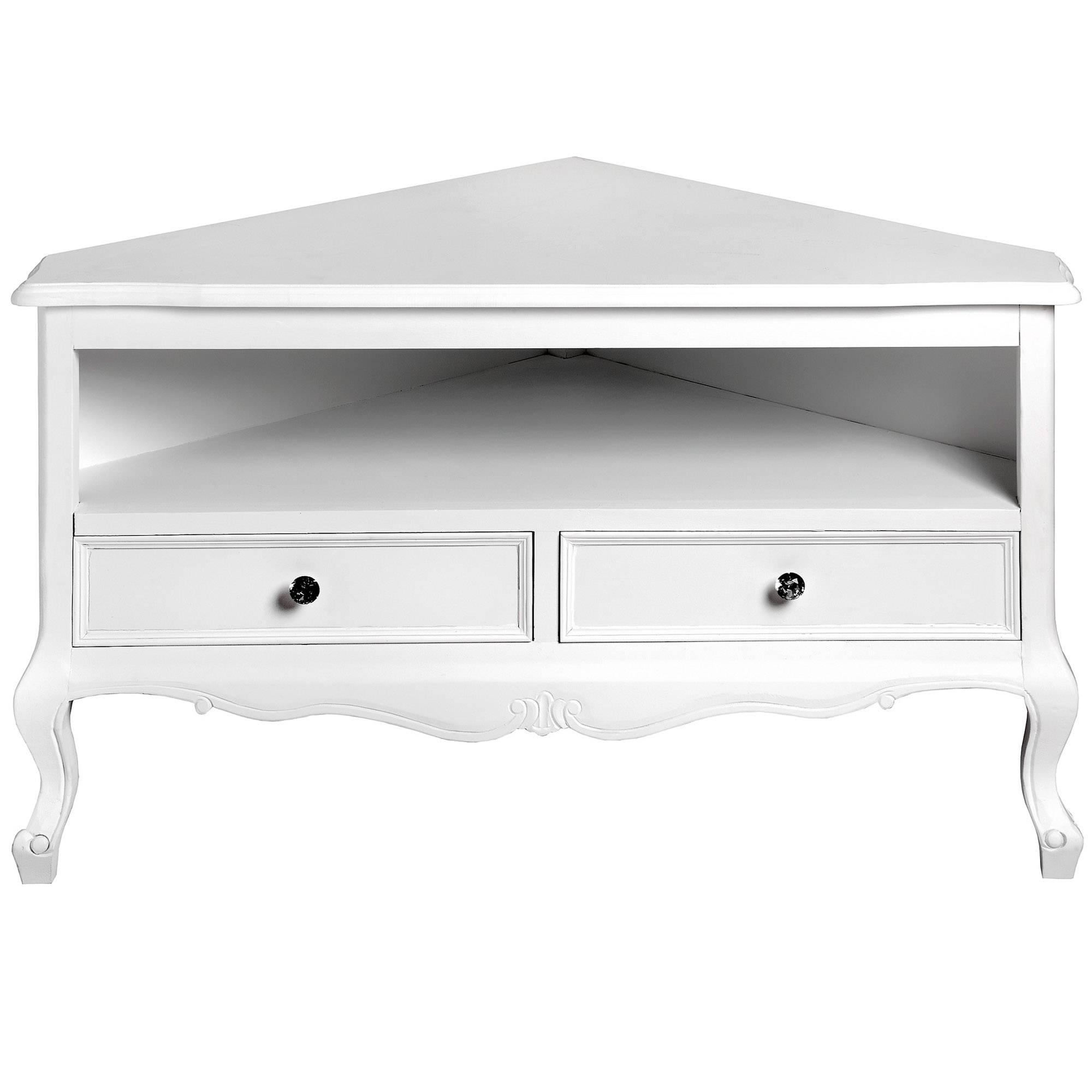 Fleur White Shabby Chic Corner Tv Unit | Lounge | Homesdirect365 With White Corner Tv Cabinets (View 2 of 15)