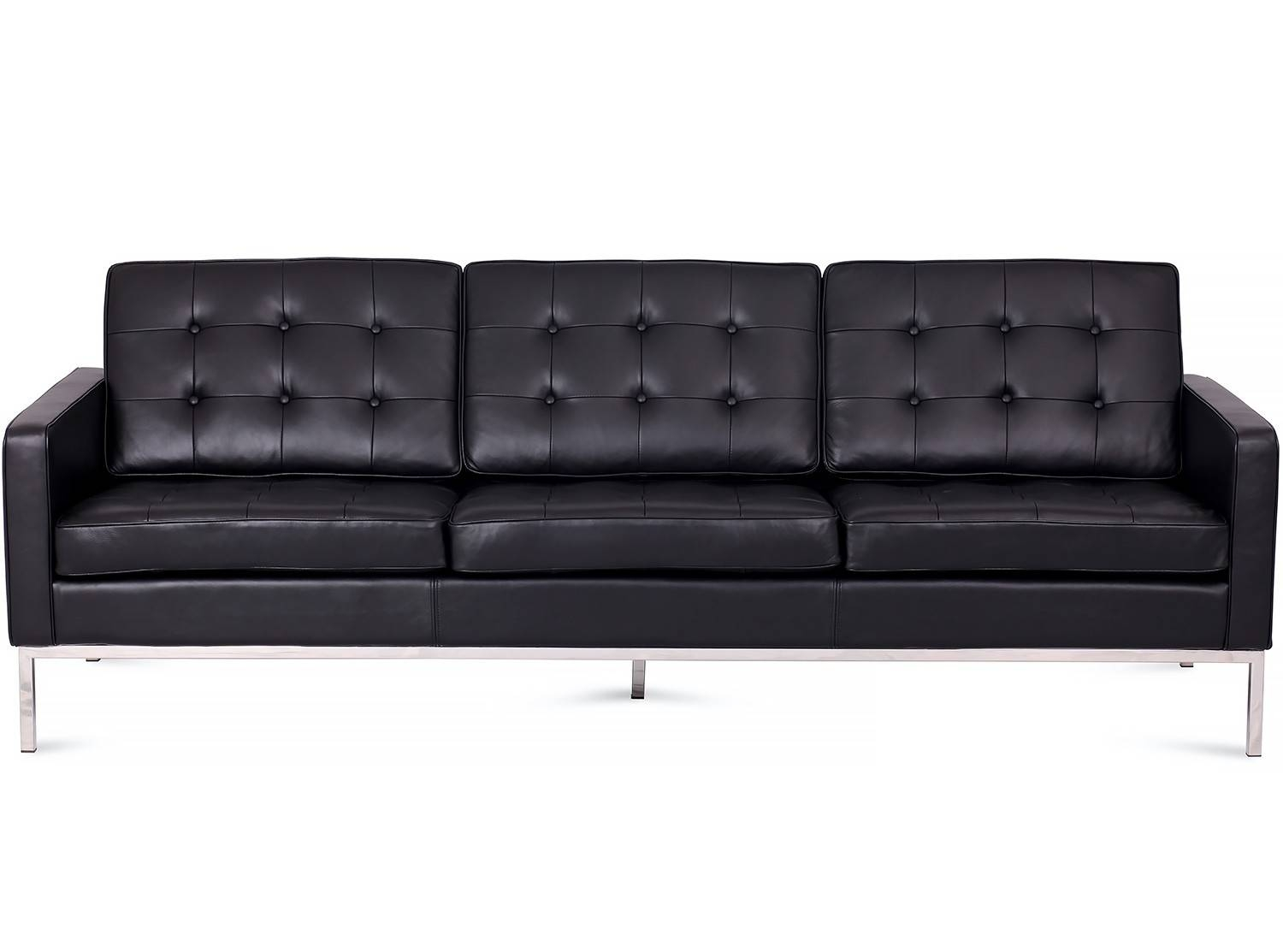 Florence Knoll Sofa 3 Seater Leather (Platinum Replica) regarding Florence Knoll Sofas (Image 9 of 15)