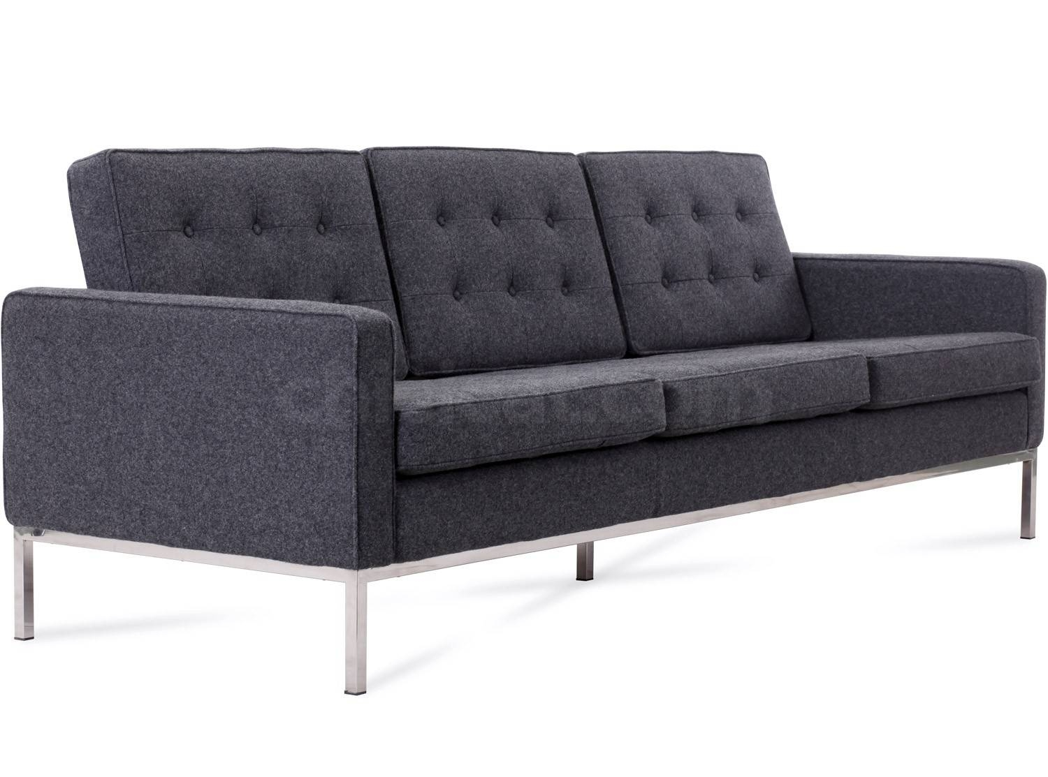 Florence Knoll Sofa 3 Seater Wool (Platinum Replica) throughout Florence Knoll Sofas (Image 10 of 15)
