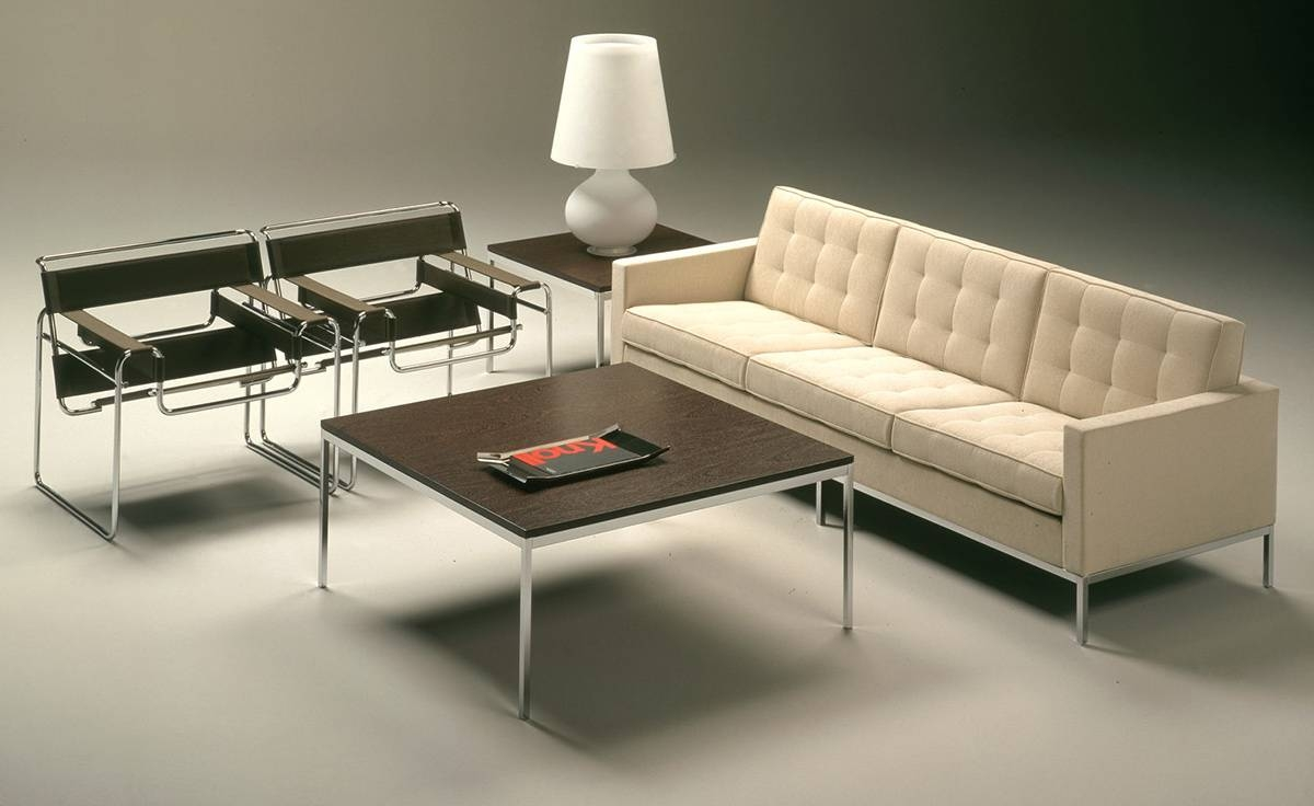 Florence Knoll Square Coffee Table - Hivemodern with Florence Knoll Sofas (Image 14 of 15)