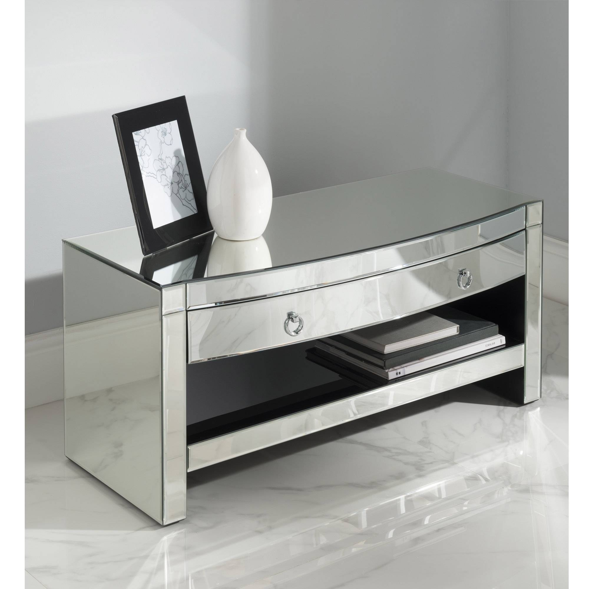 Florence Mirrored Tv Cabinet | Venetian Glass Furniture intended for Mirrored Tv Cabinets (Image 3 of 15)
