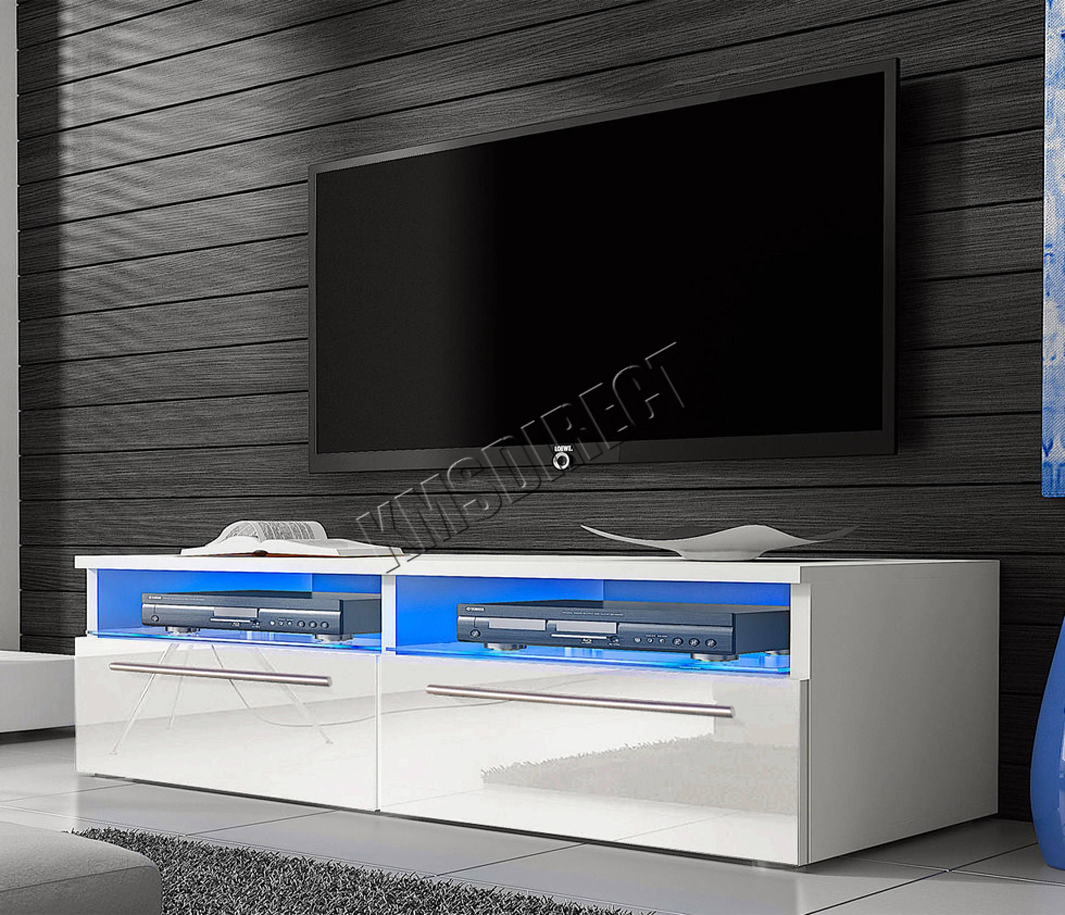Foxhunter Modern High Gloss Matt Tv Cabinet Unit Stand Led Light pertaining to High Gloss White Tv Cabinets (Image 5 of 15)