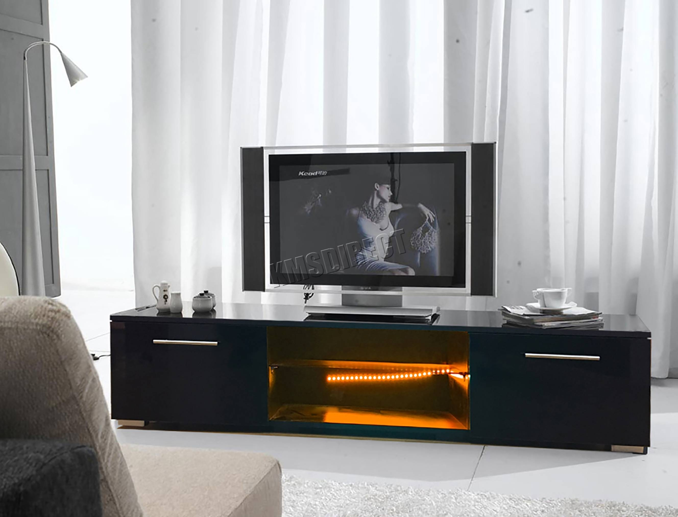 Foxhunter Modern High Gloss Matt Tv Cabinet Unit Stand Rgb Led with regard to High Gloss Tv Cabinets (Image 6 of 15)