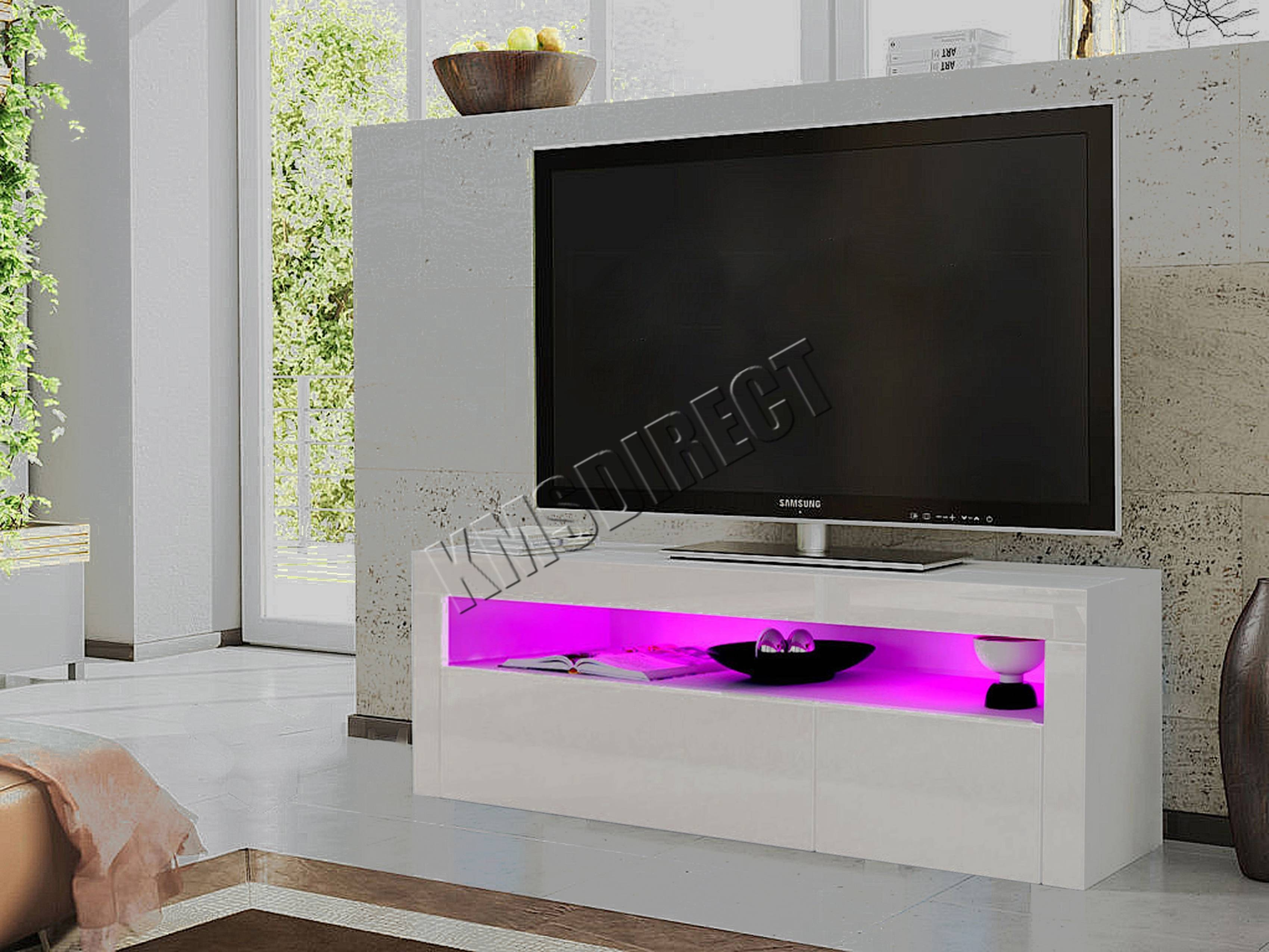 Foxhunter Modern High Gloss Matt Tv Cabinet Unit Stand White Rgb with regard to High Gloss Tv Cabinets (Image 7 of 15)