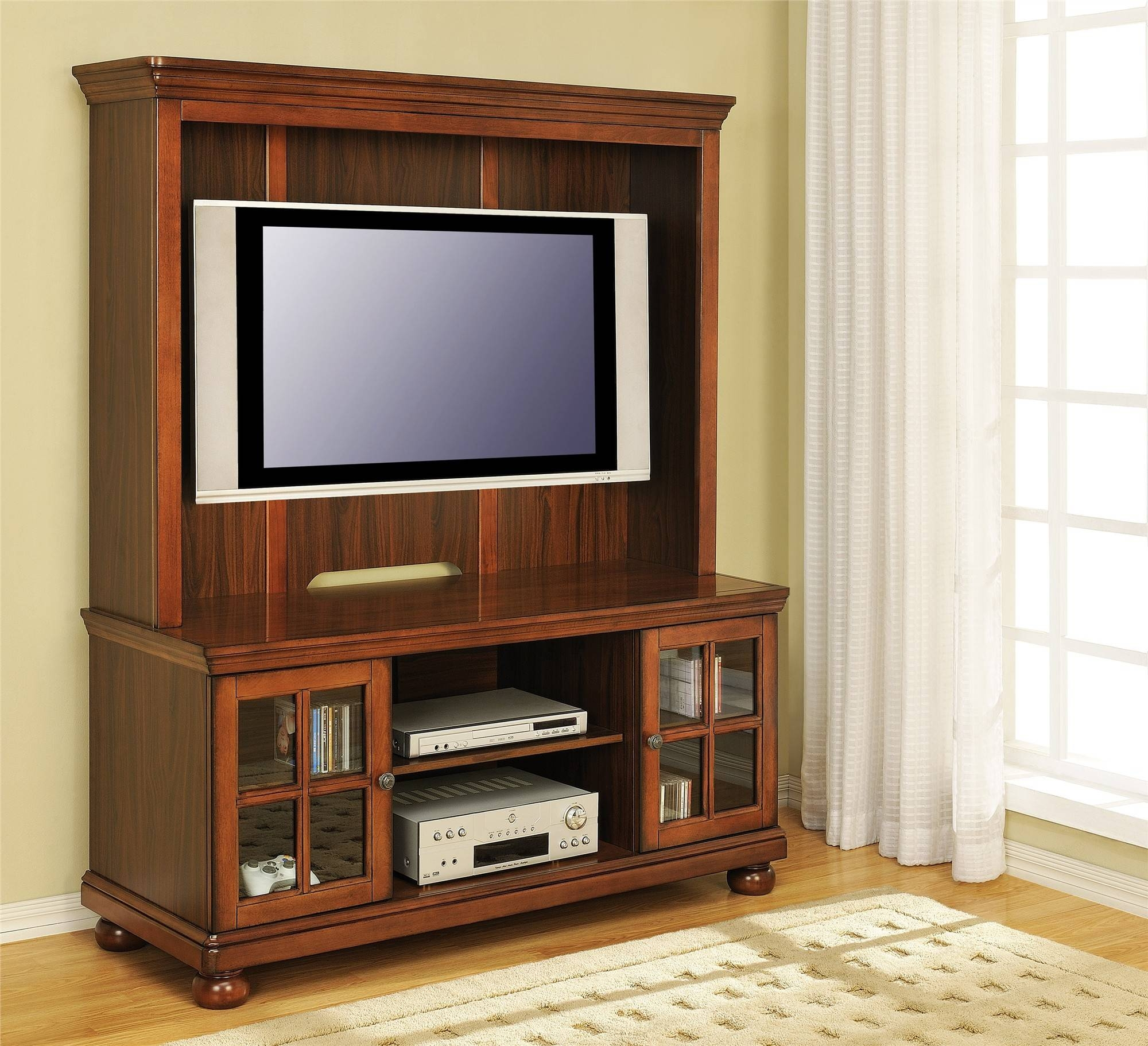"Free Ship Furnishings | 50"" Flat Screen Traditional Wood Tv Stand within Wooden Tv Cabinets With Glass Doors (Image 7 of 15)"