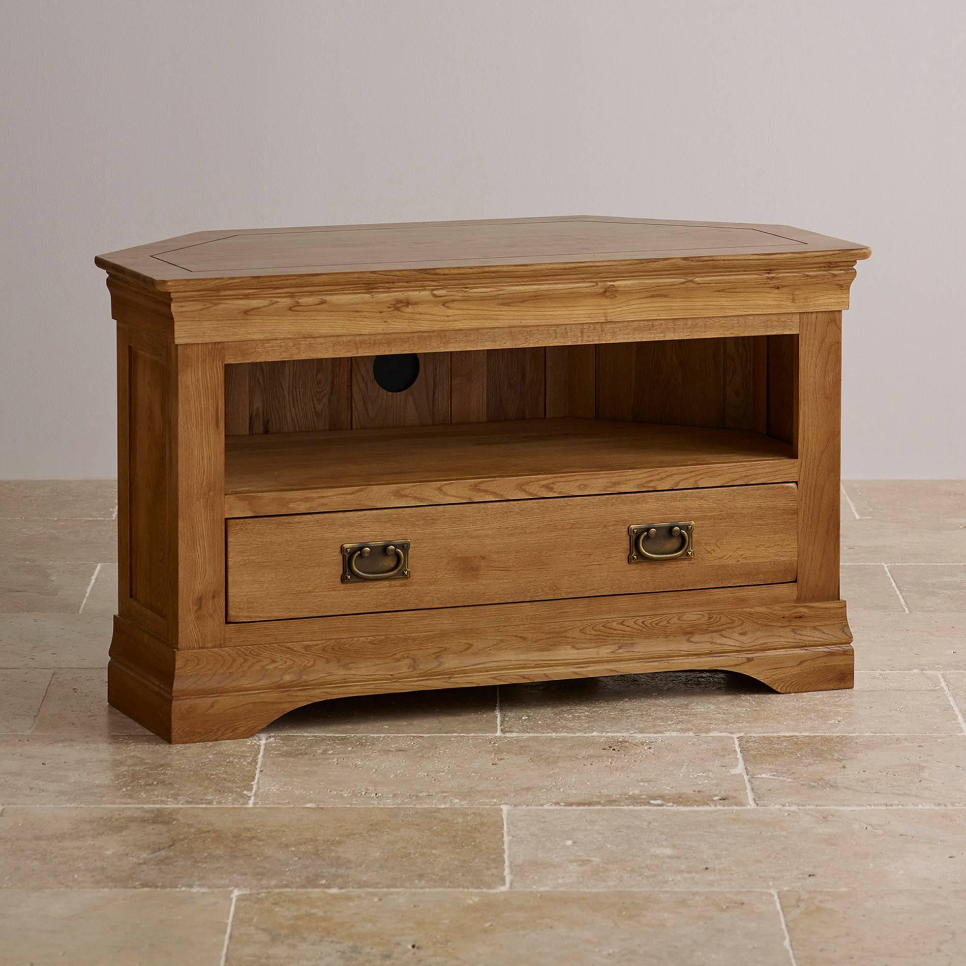 French Farmhouse Corner Tv Unit | Solid Oak | Oak Furniture Land in Wood Corner Tv Cabinets (Image 6 of 15)