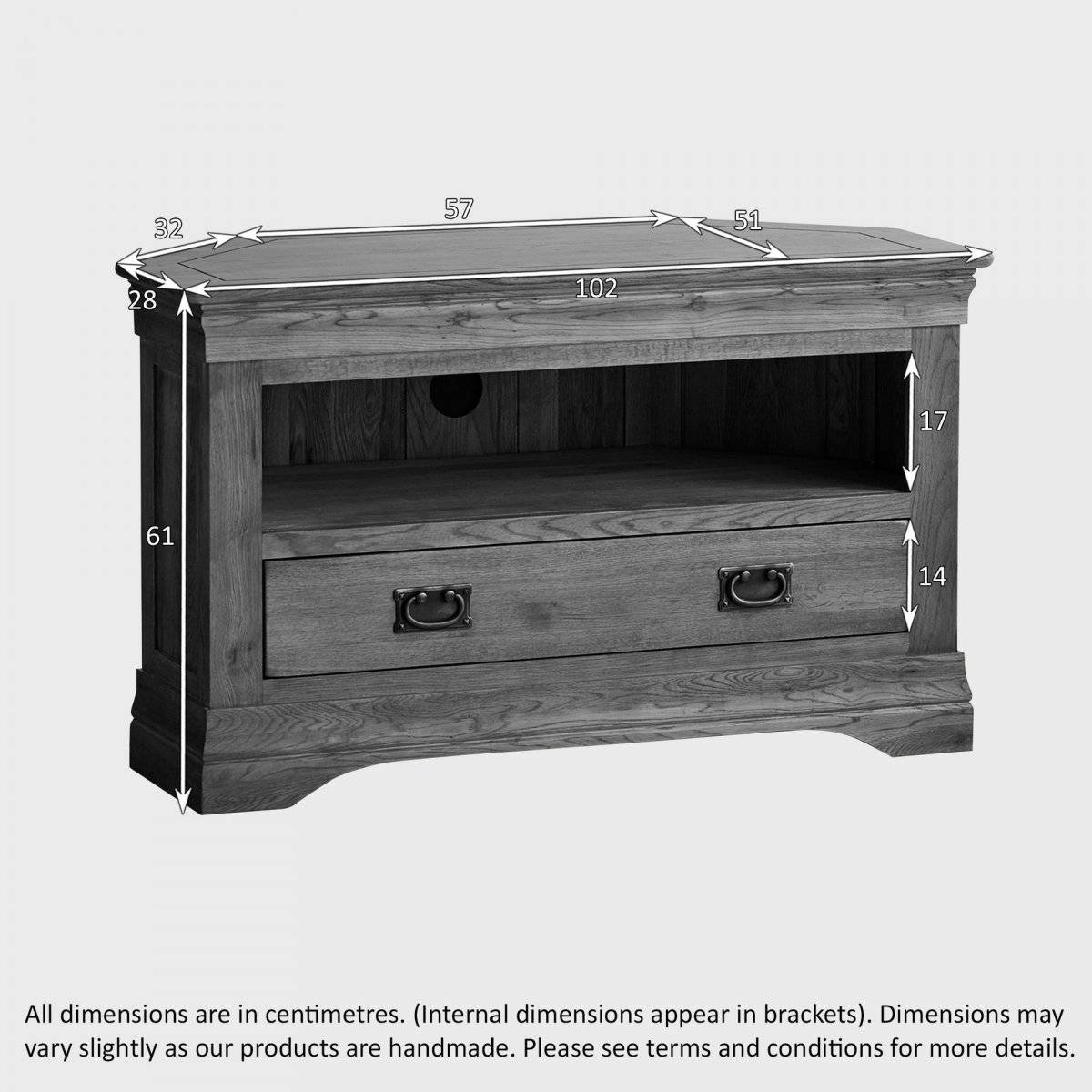 French Farmhouse Corner Tv Unit | Solid Oak | Oak Furniture Land Regarding Small Oak Corner Tv Stands (View 4 of 15)