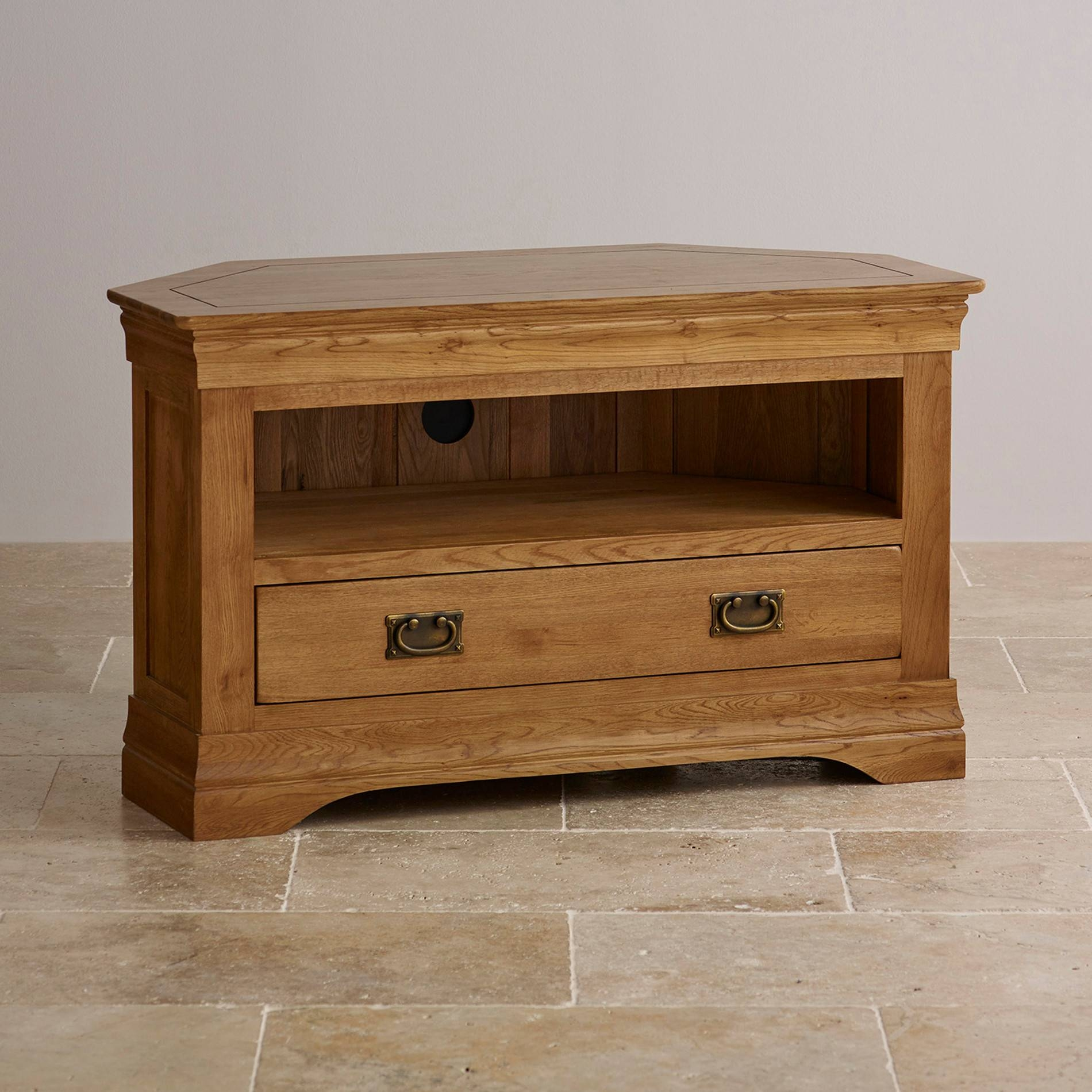 French Farmhouse Corner Tv Unit | Solid Oak | Oak Furniture Land throughout Rustic Corner Tv Cabinets (Image 3 of 15)
