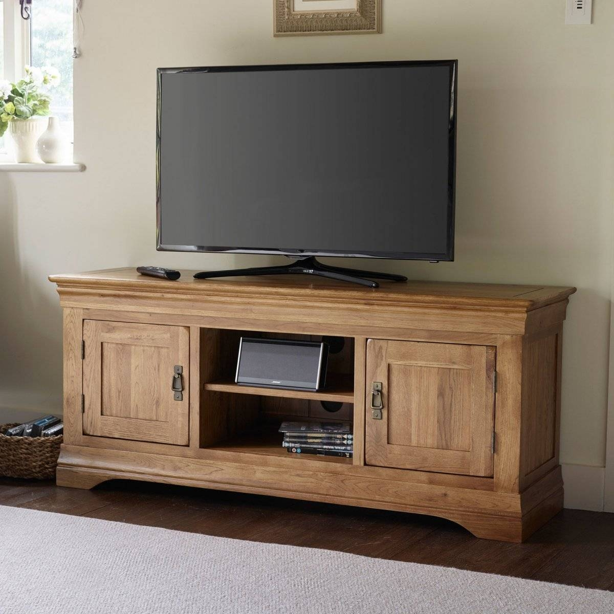French Farmhouse Tv Cabinet In Solid Oak | Oak Furniture Land for French Tv Cabinets (Image 8 of 15)