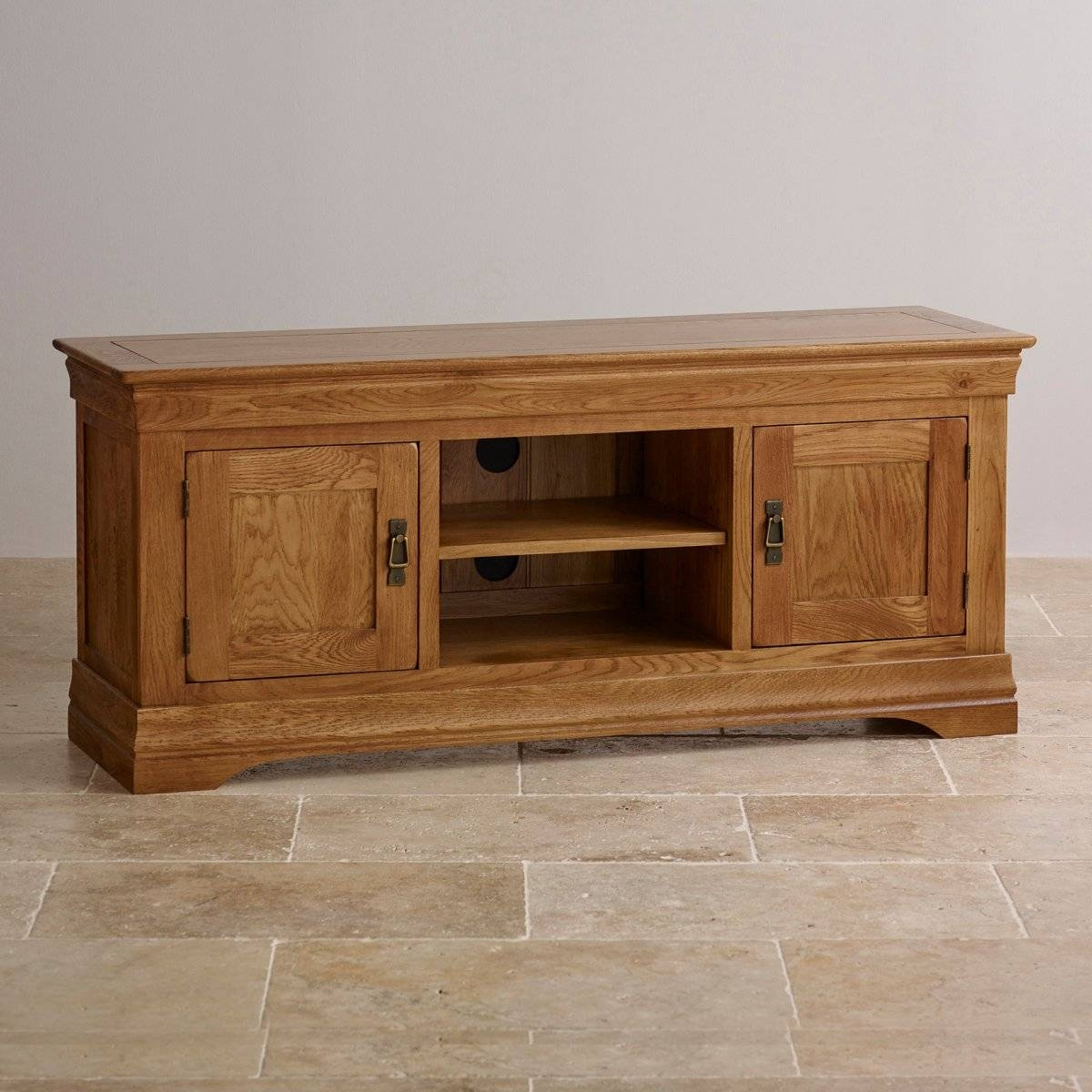 French Farmhouse Tv Cabinet In Solid Oak | Oak Furniture Land in Large Tv Cabinets (Image 3 of 15)