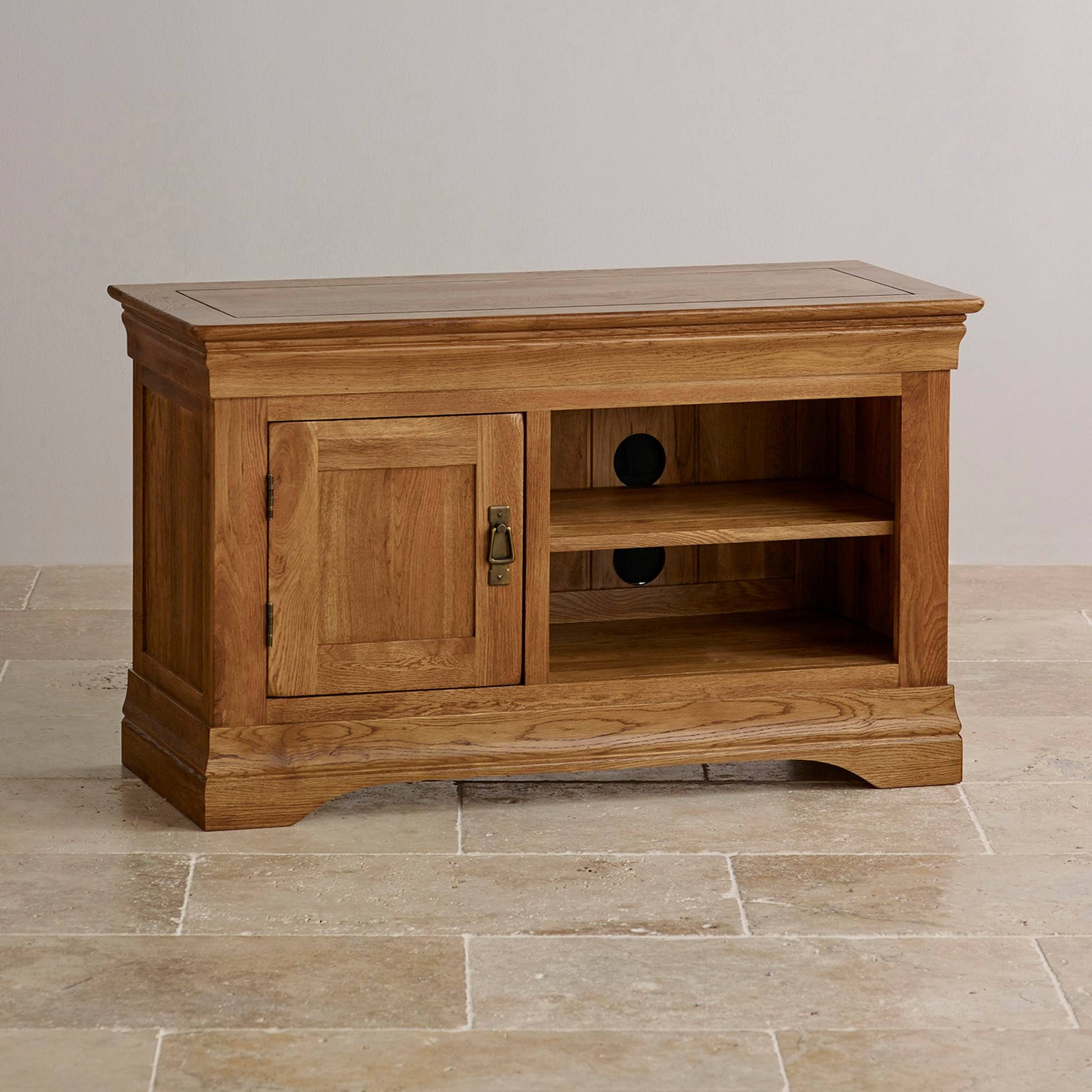 French Farmhouse Tv Cabinet | Solid Oak | Oak Furniture Land With Regard To Small Oak Tv Cabinets (View 4 of 15)