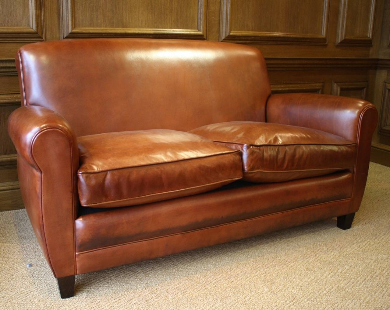 French Leather Sofa, Siege En Cuire, Siege Francais, 20Th Century pertaining to Caramel Leather Sofas (Image 5 of 15)