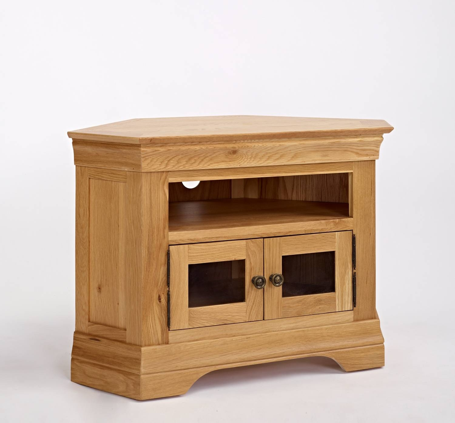 French Modern Oak Corner Tv Unit | Hampshire Furniture within Small Oak Corner Tv Stands (Image 5 of 15)