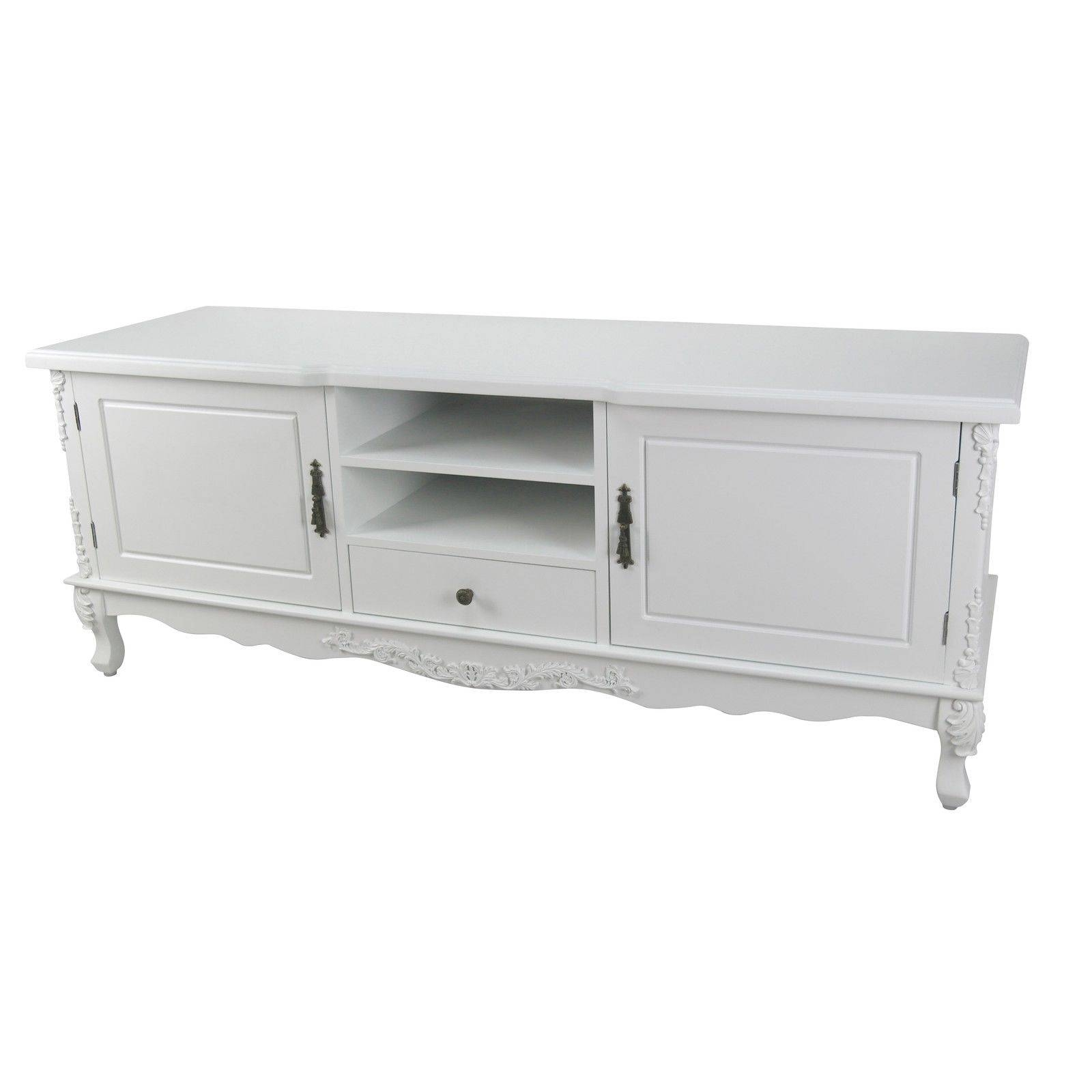 French Style White Large Cabinet Tv Unit Furniture – La Maison Throughout French Tv Cabinets (View 7 of 15)