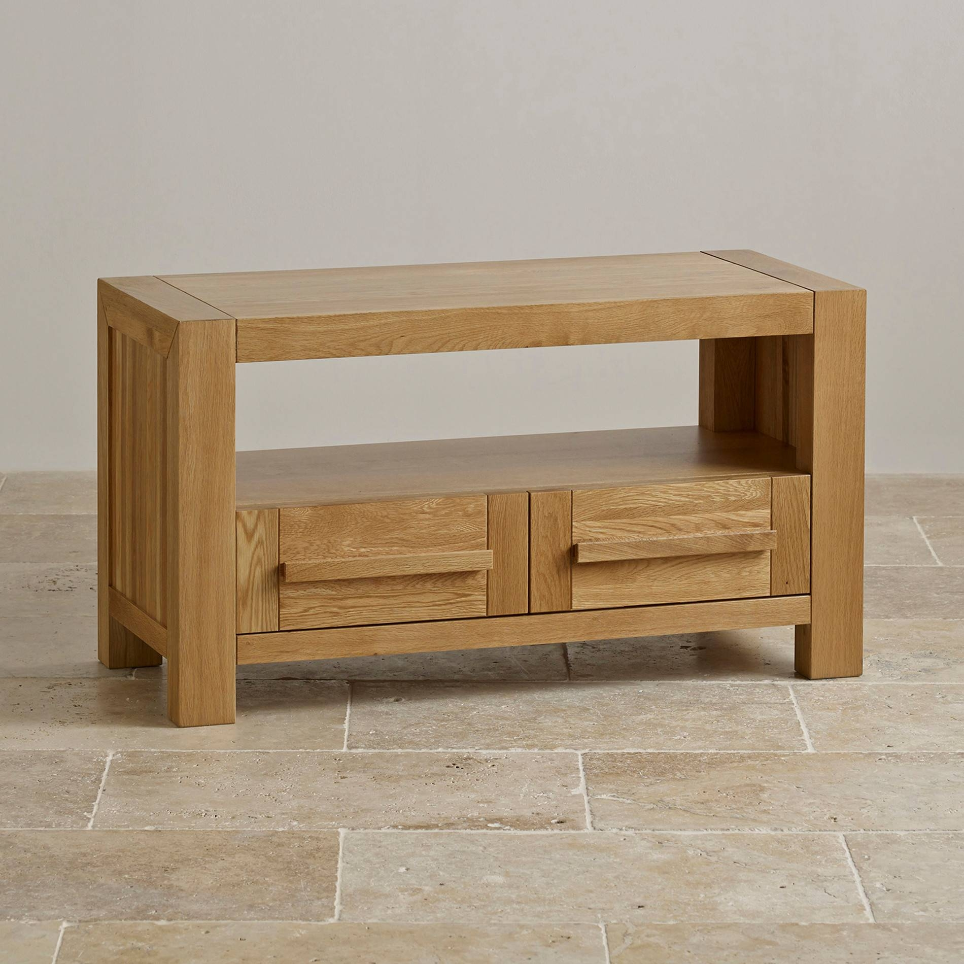 Fresco 2 Drawer Tv Cabinet In Solid Oak | Oak Furniture Land in Oak Tv Cabinets With Doors (Image 4 of 15)
