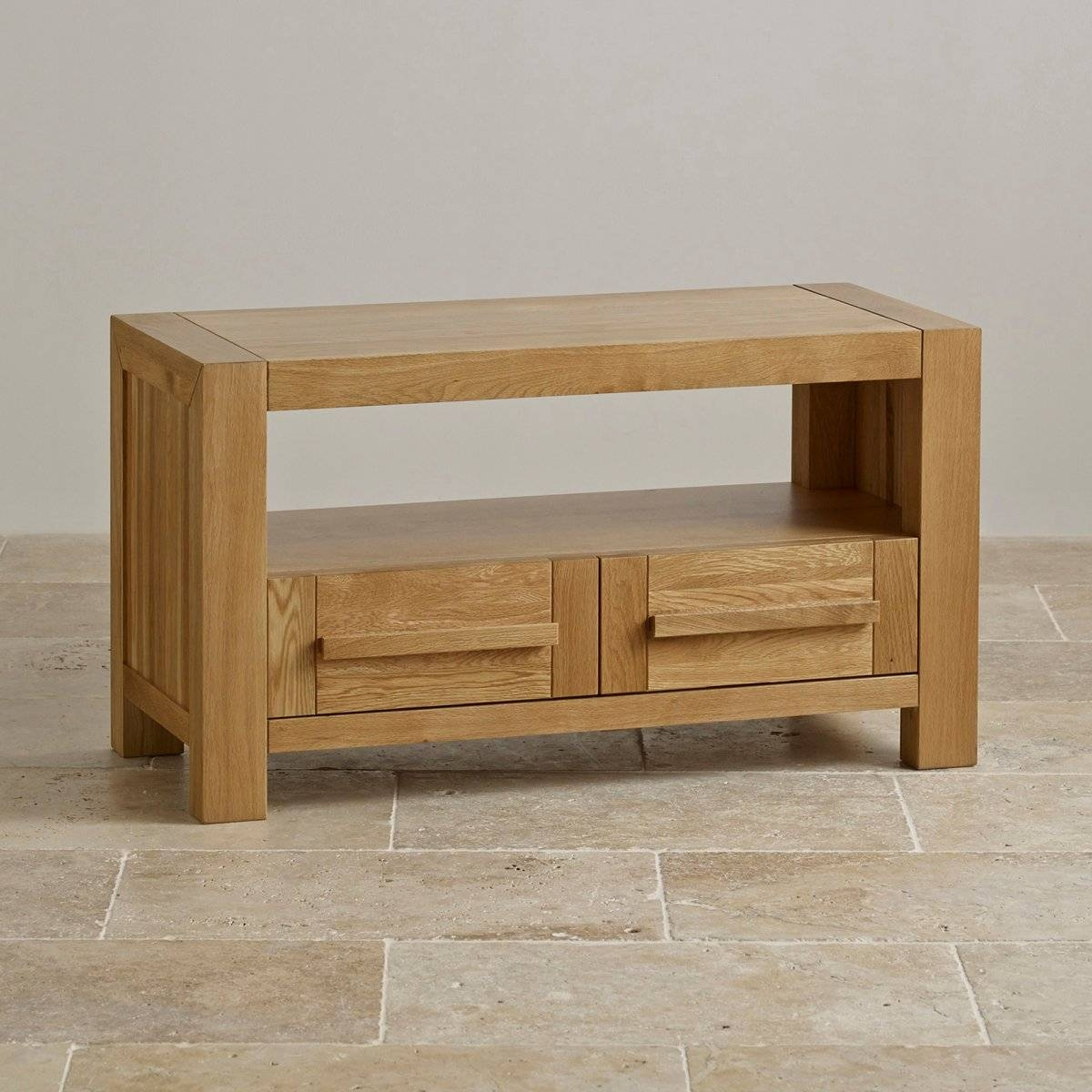 Fresco 2 Drawer Tv Cabinet In Solid Oak | Oak Furniture Land Within Small Oak Tv Cabinets (View 5 of 15)
