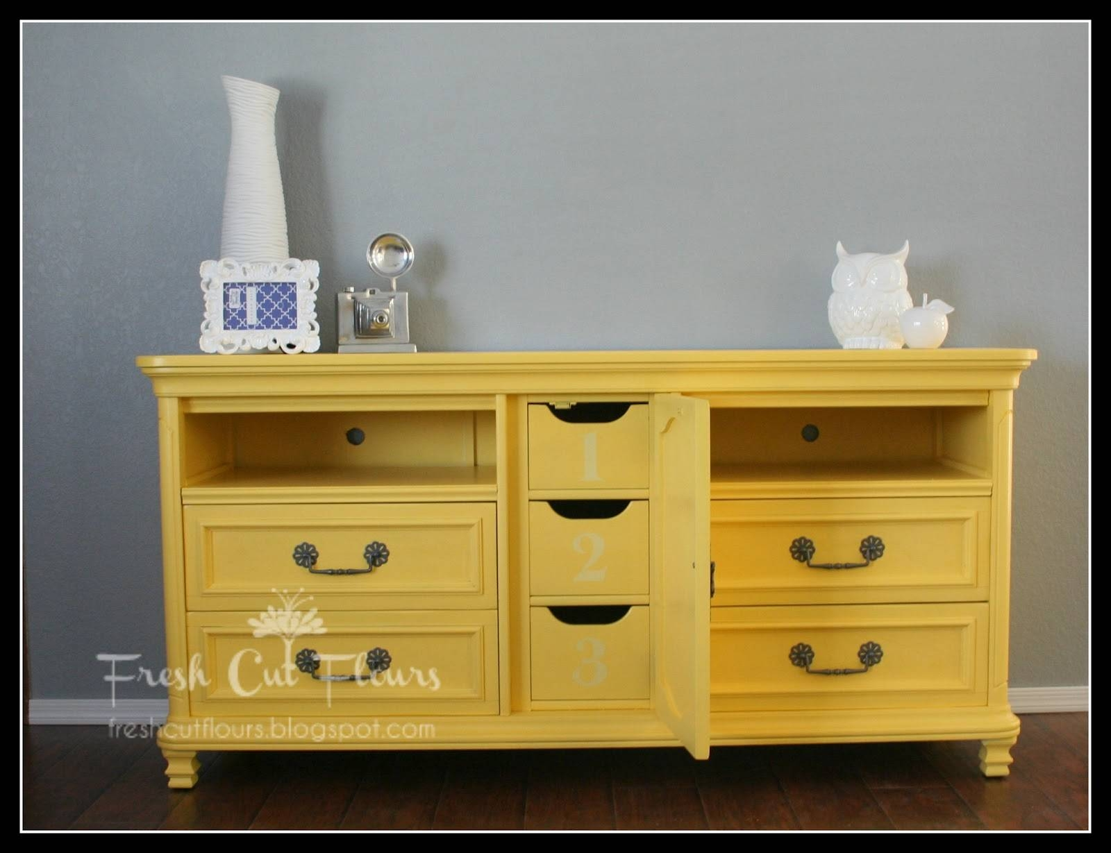 Fresh Cut Flours: Dresser Turned Tv/media Stand pertaining to Yellow Tv Stands (Image 3 of 15)