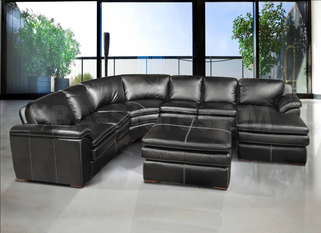Fresh Grey Leather Sectional Couch 83 Contemporary Sofa inside Charcoal Grey Leather Sofas (Image 5 of 15)