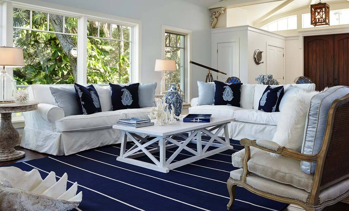 Funiture: Coastal Furniture Ideas For Living Room With Blue And throughout Blue And White Sofas (Image 4 of 15)