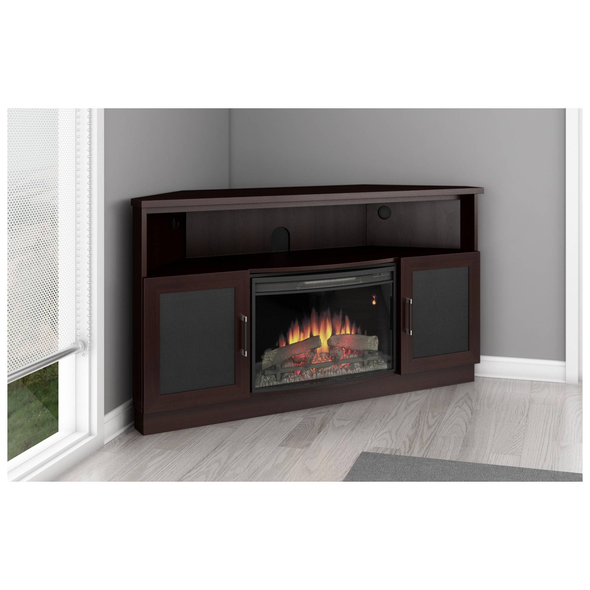 "Furnitech Ft60Cccfb 60"" Tv Stand Contemporary Corner Cabinet W with Tv Stands With Rounded Corners (Image 3 of 15)"